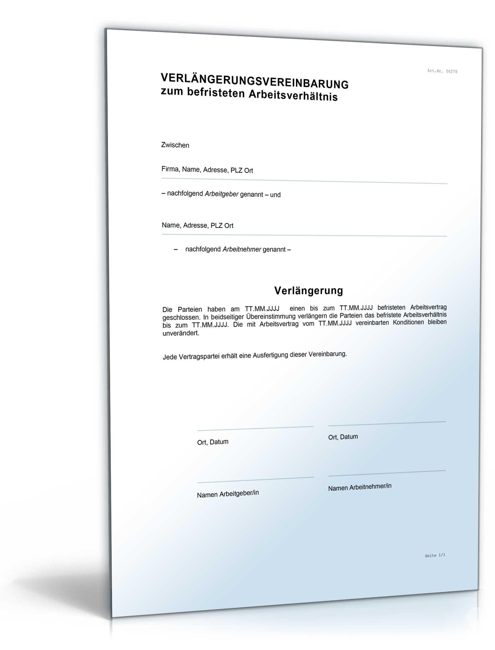 vereinbarung verlngerung - Verlangerung Probezeit Muster