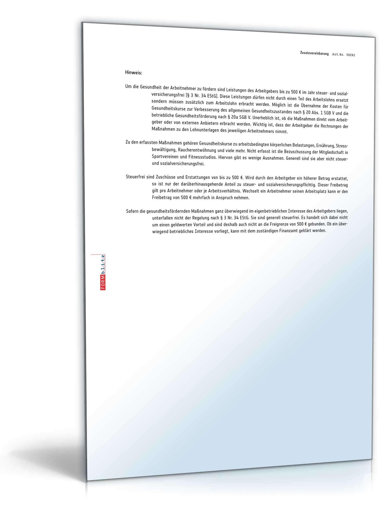 Zusatzvereinbarung Zum Arbeitsvertrag Gehaltserhöhung