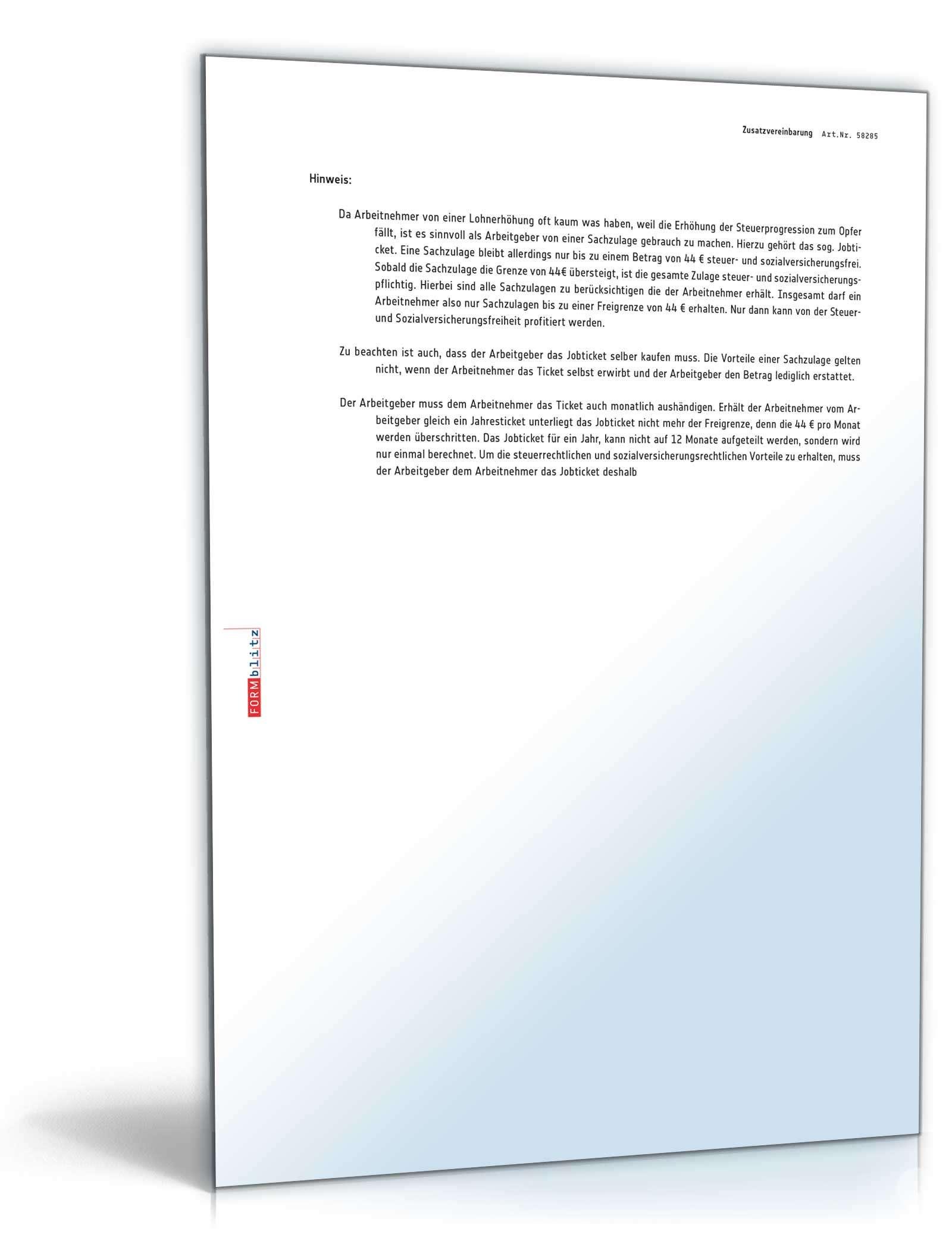 Zusatzvereinbarung Zum Jobticket Muster Zum Download