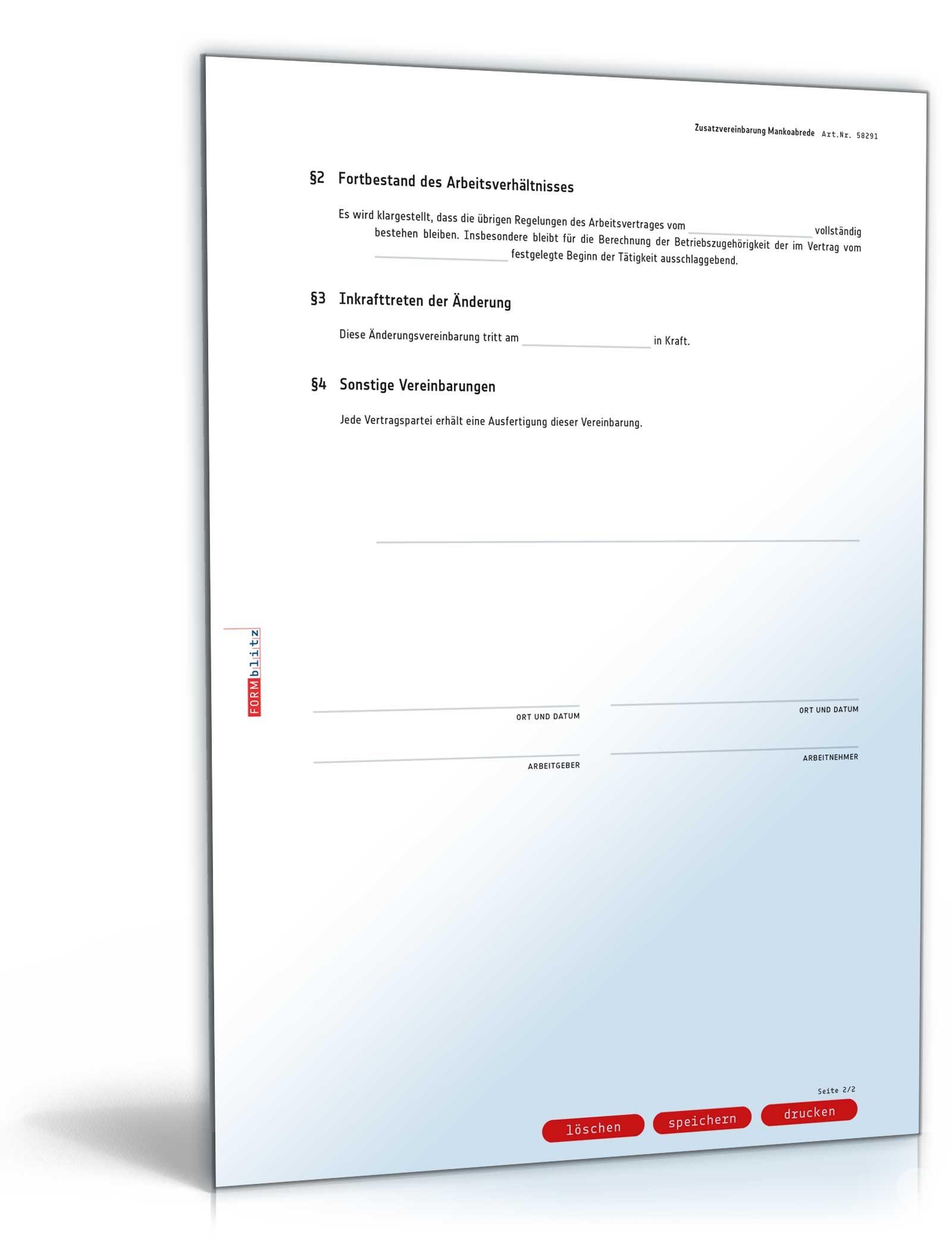 Zusatzvereinbarung Mankoabrede Muster Zum Download