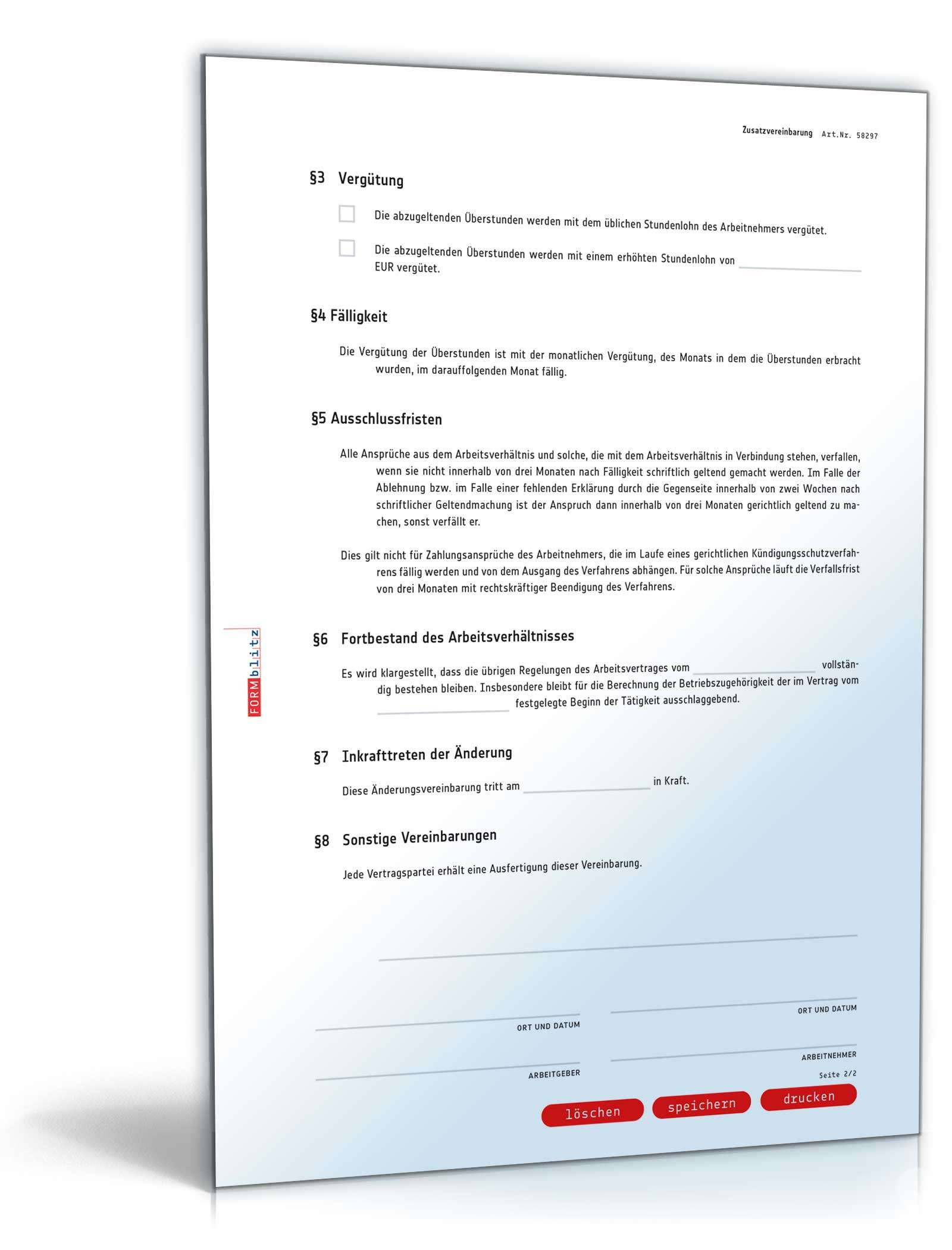 Zusatzvereinbarung überstunden Muster Zum Download