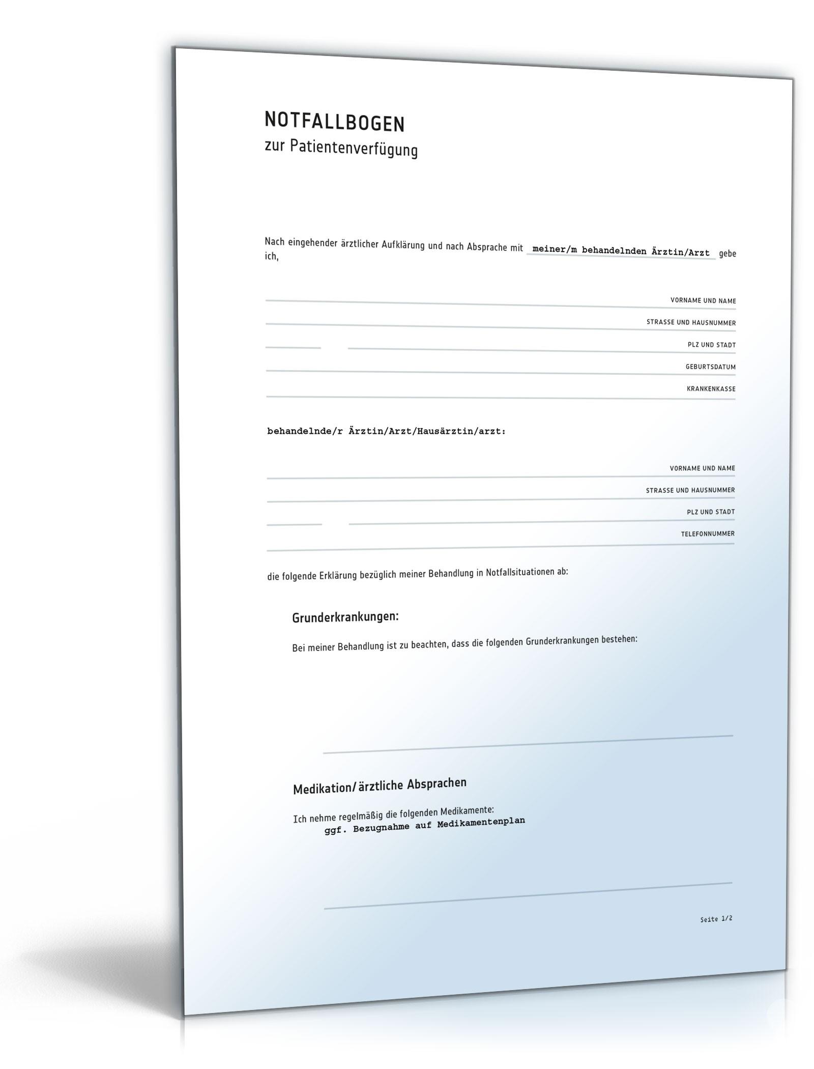 notfallbogen zu einer patientenverfgung - Patientenverfugung Muster