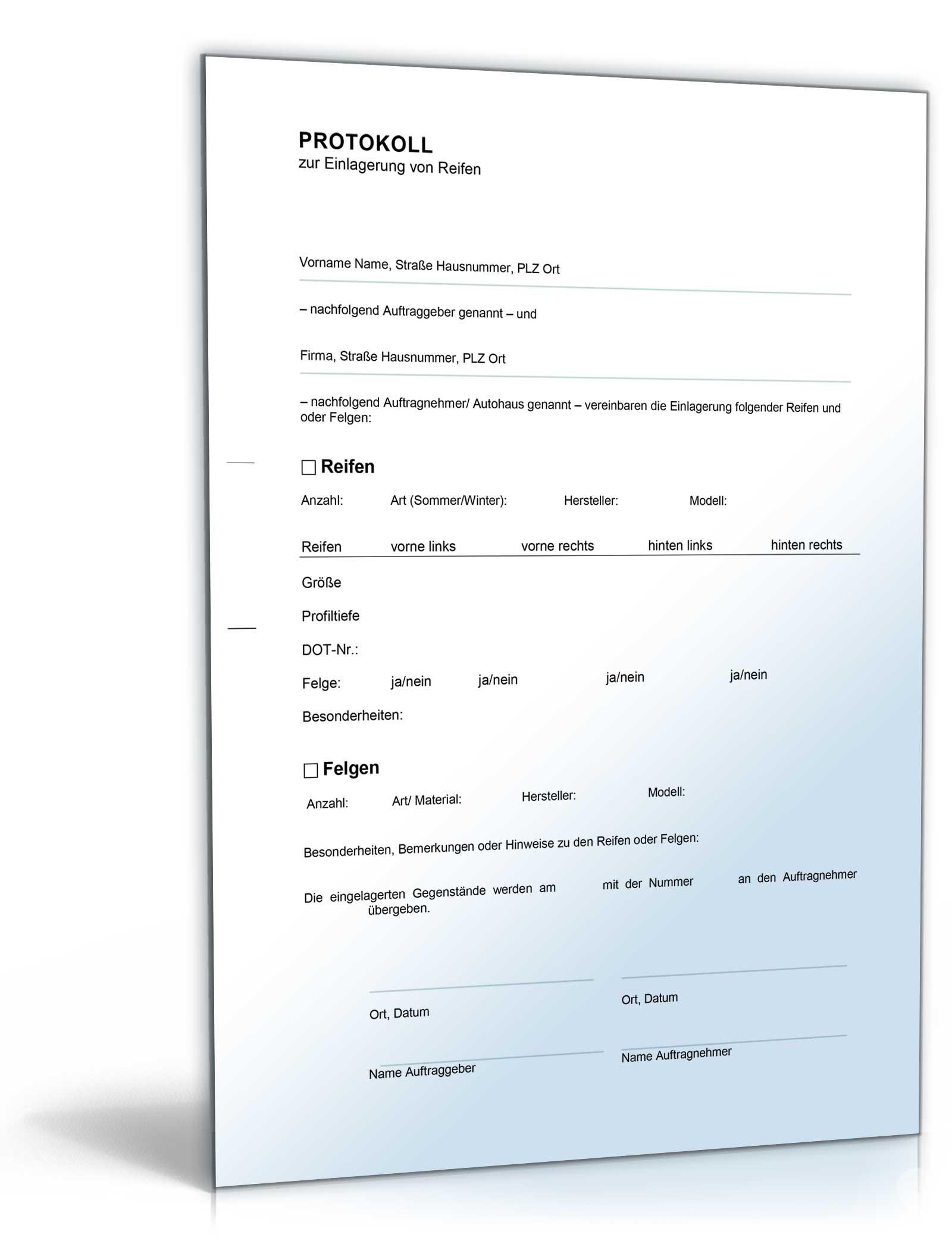 protokoll zur einlagerung von reifen doc - Protokoll Muster