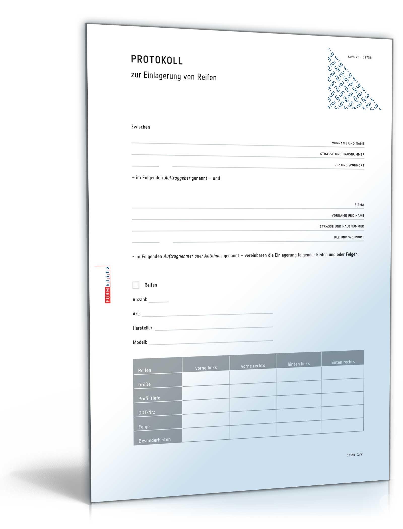 protokoll einlagerung reifen - Protokoll Muster