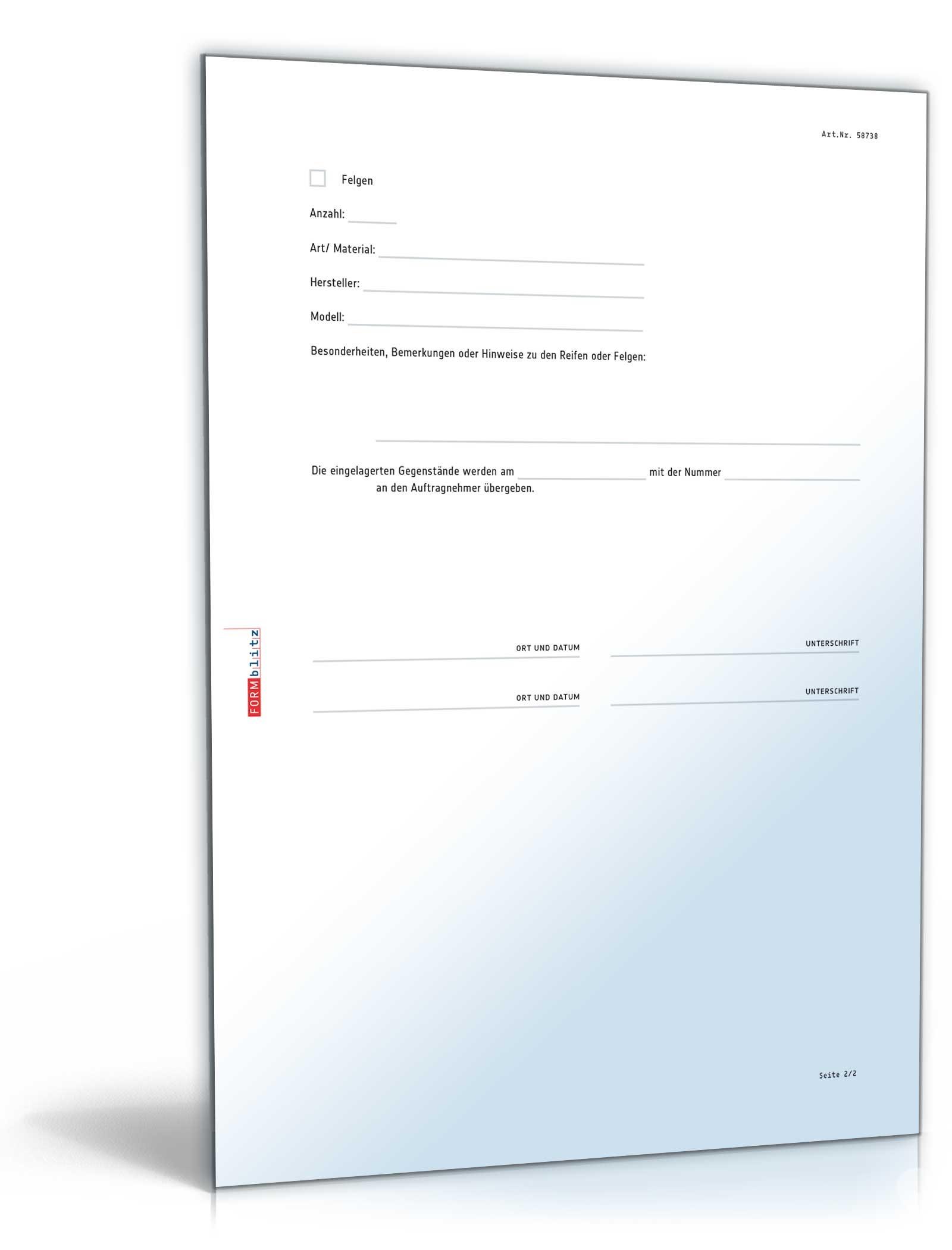protokoll zur einlagerung von reifen - Protokoll Muster