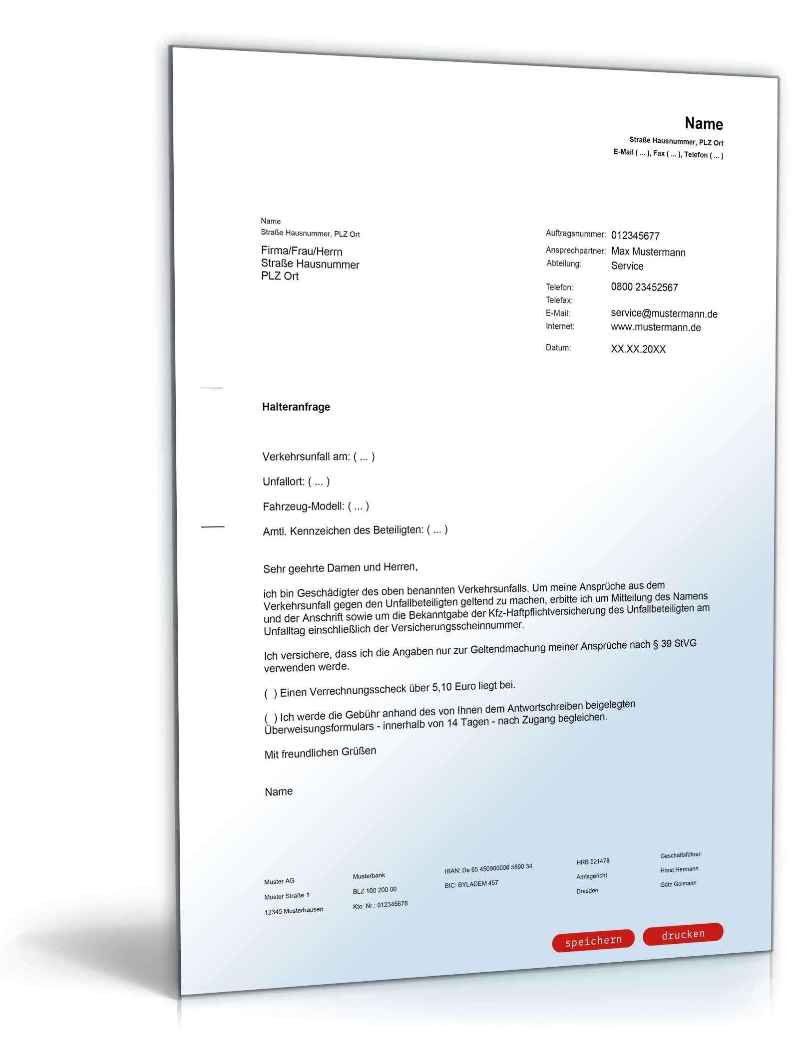 Halteranfrage Registerauskunft Muster Zum Download