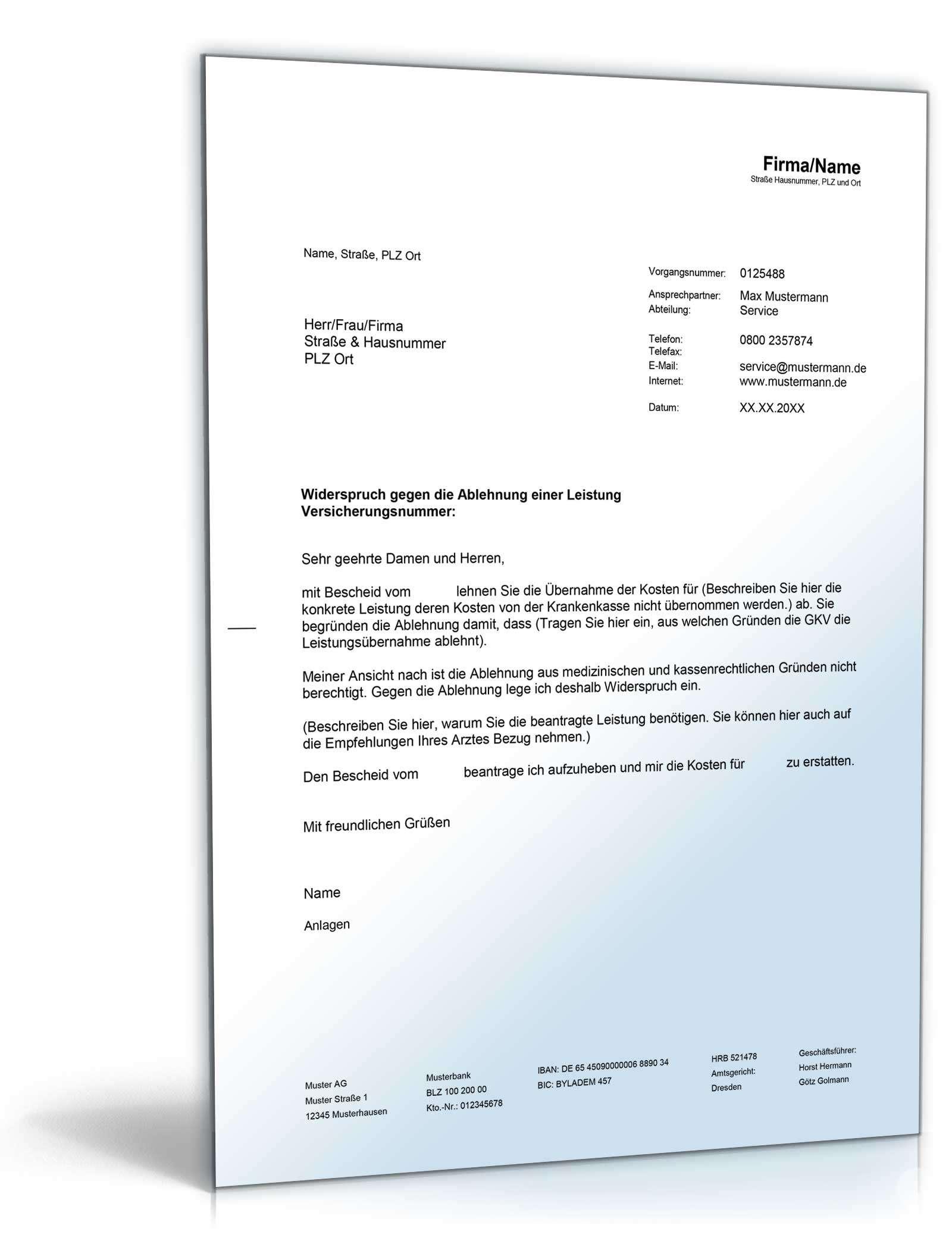 Widerspruch Verweigerung einer Leistung durch die GKV | Muster zum ...