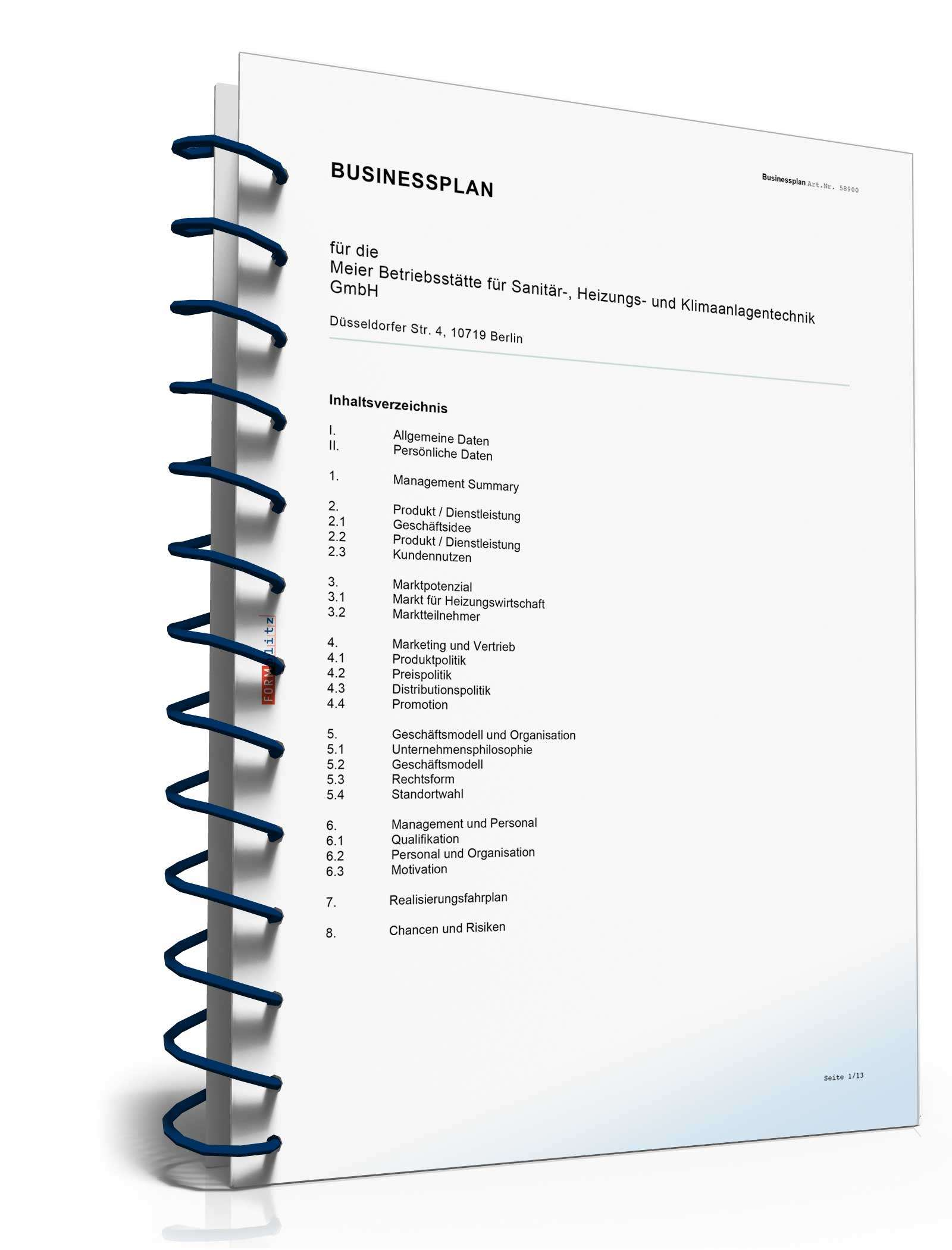 Businessplan Anlagenmechaniker, Inhalt