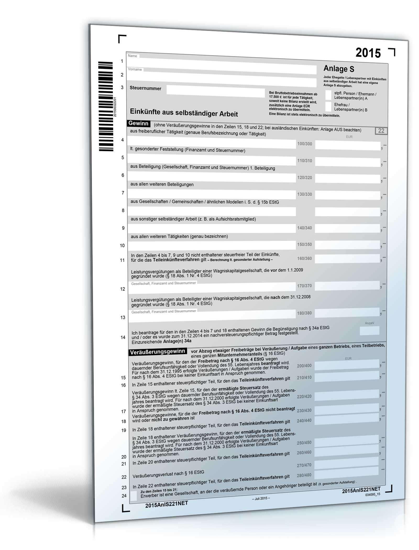 Anlage S 2015 Dokument zum Download