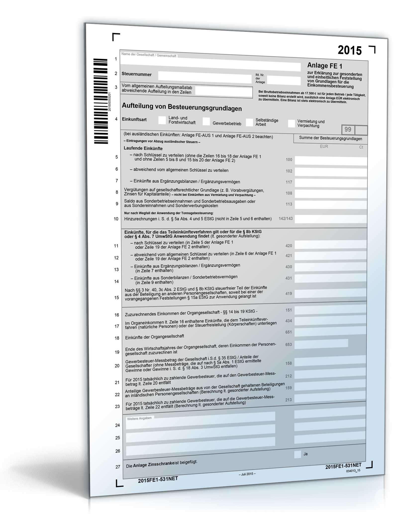 Anlage FE 1 2015 | Steuerformular zum Download
