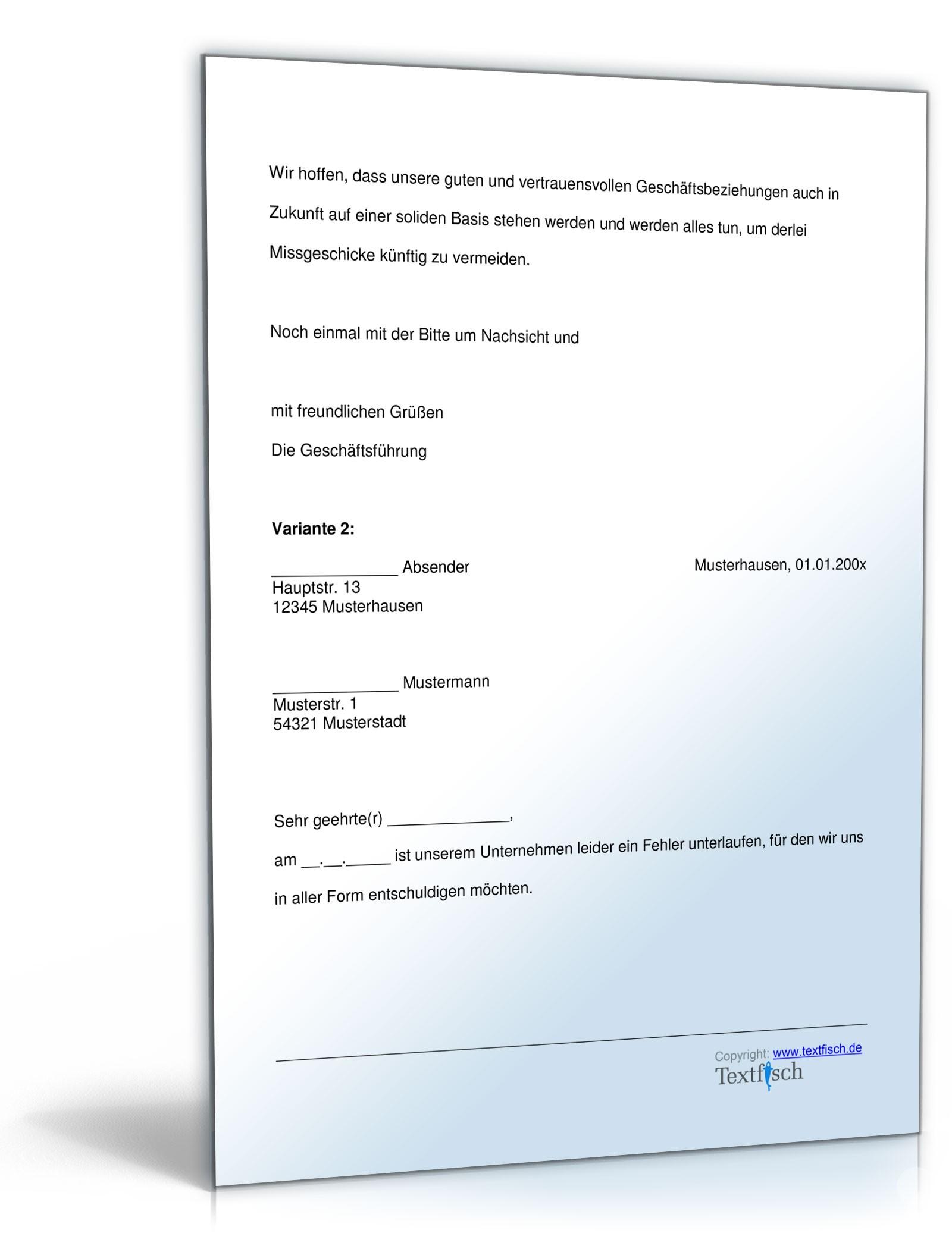 Entschuldigung Falschlieferung Produkt | Muster zum Download