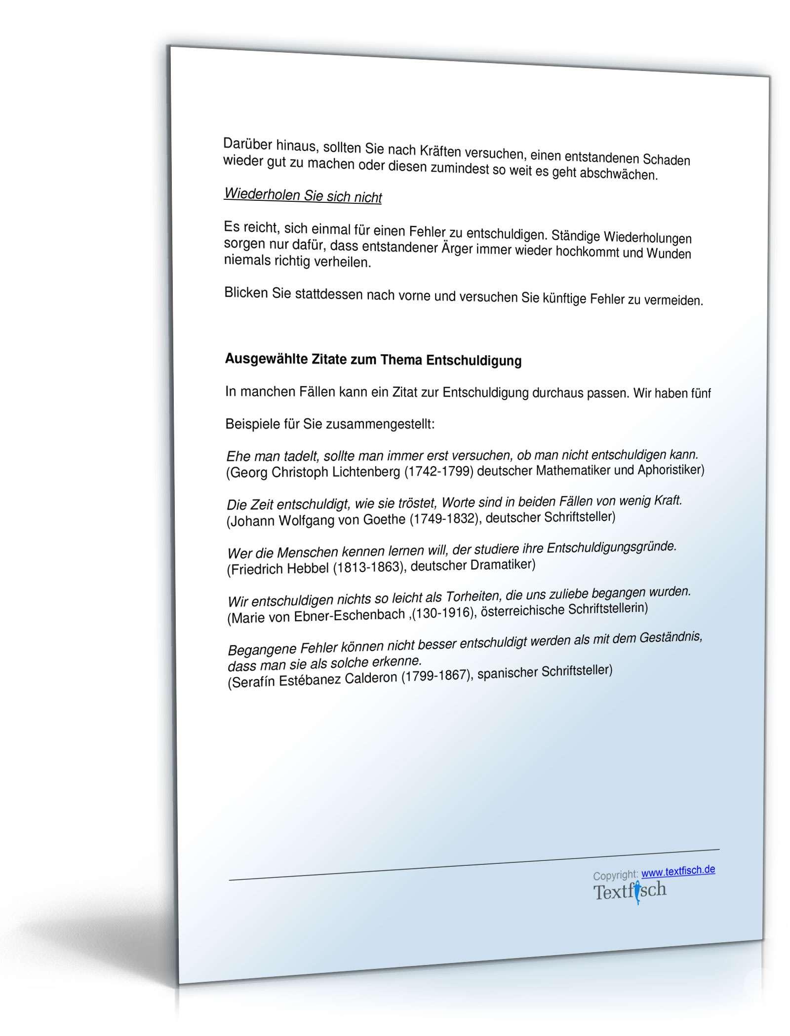 Musterbriefe Entschuldigungsschreiben Geschäftlich : Entschuldigung mangel produkt muster zum download
