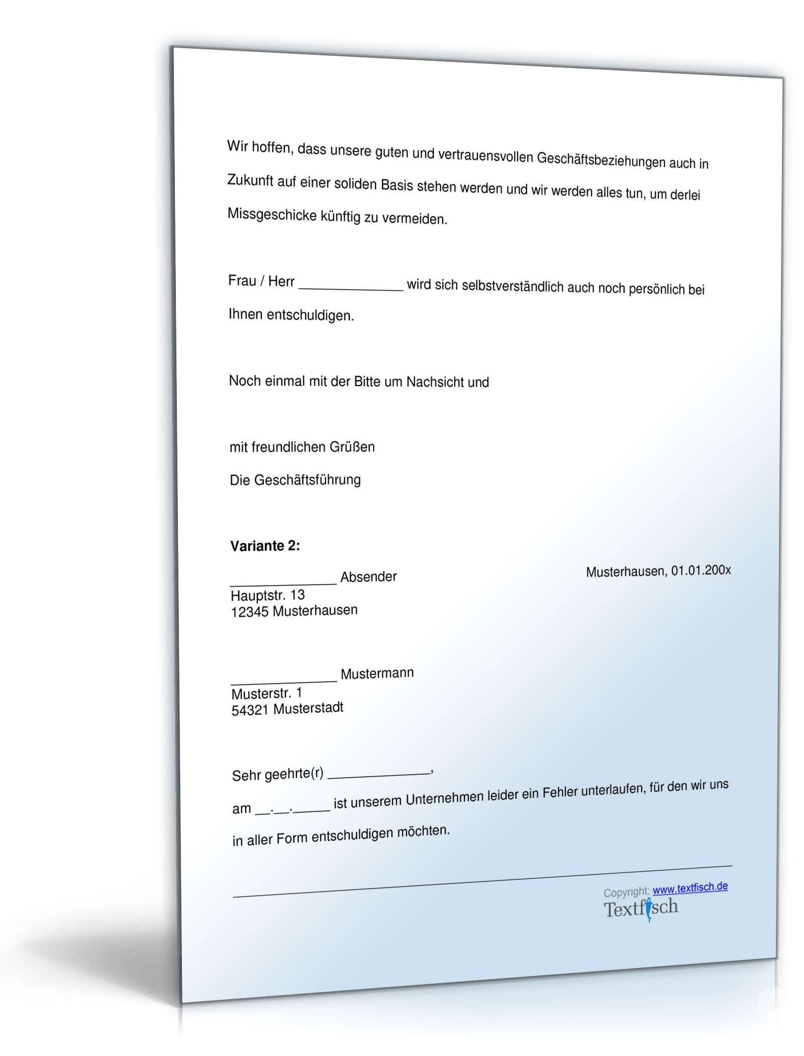 Entschuldigung schlechter Kundenservice   Muster zum Download