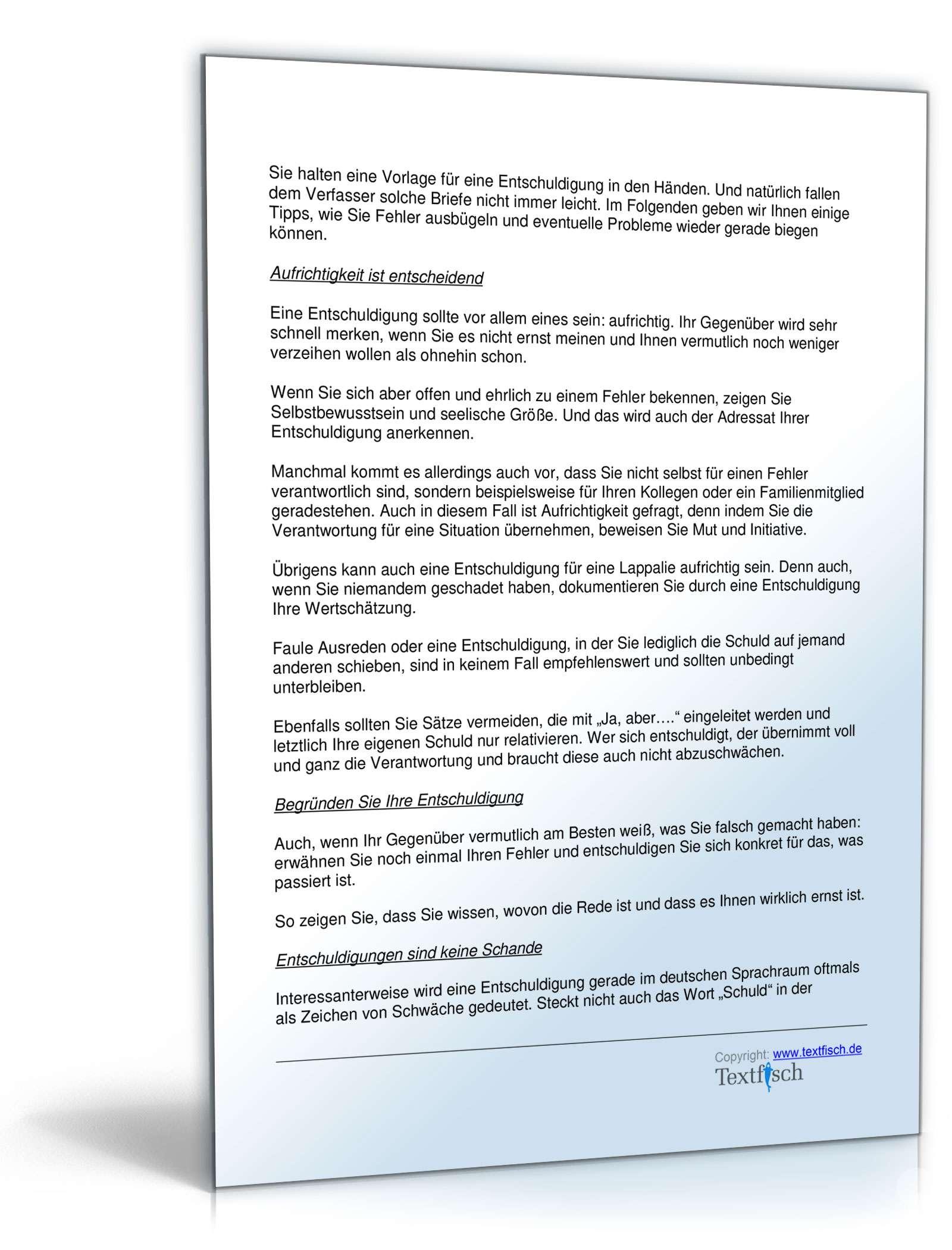 Entschuldigung schlechter Kundenservice | Muster zum Download