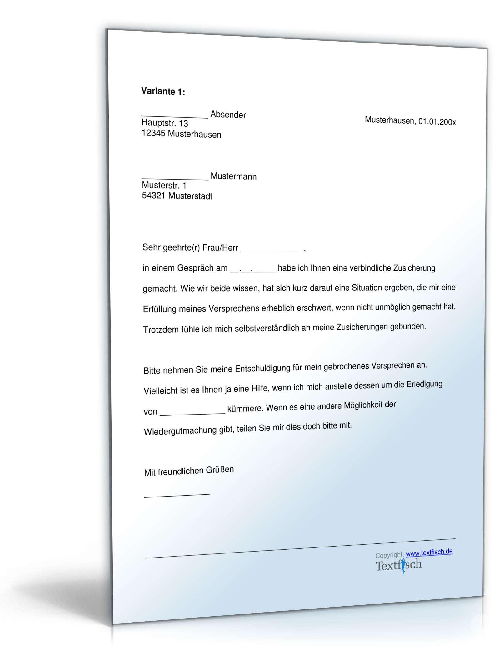 Musterbriefe Geschäftsbriefe : Entschuldigung nicht eingehaltenes versprechen muster