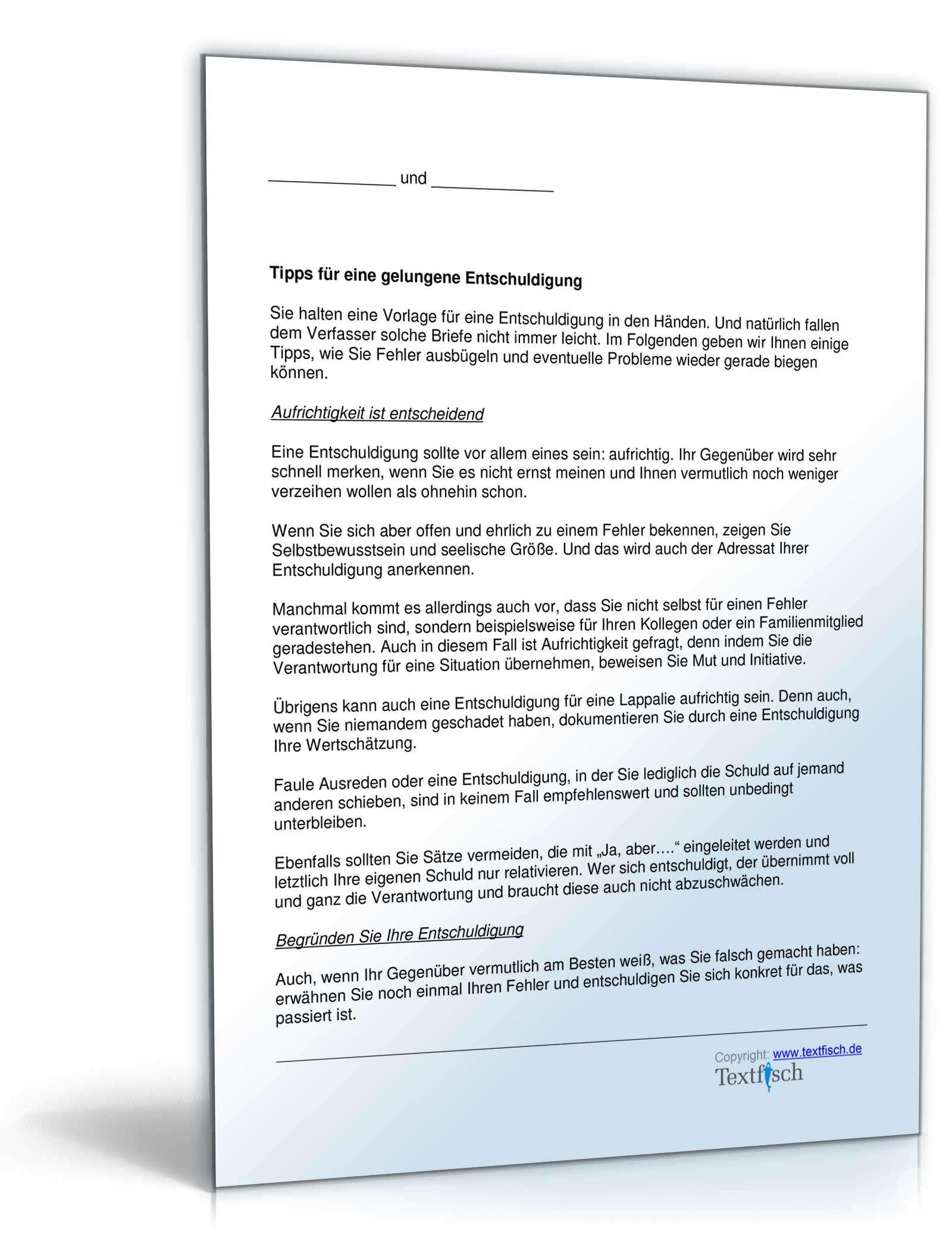 Musterbriefe Reklamationen Beantworten : Entschuldigung verhalten kind muster zum download