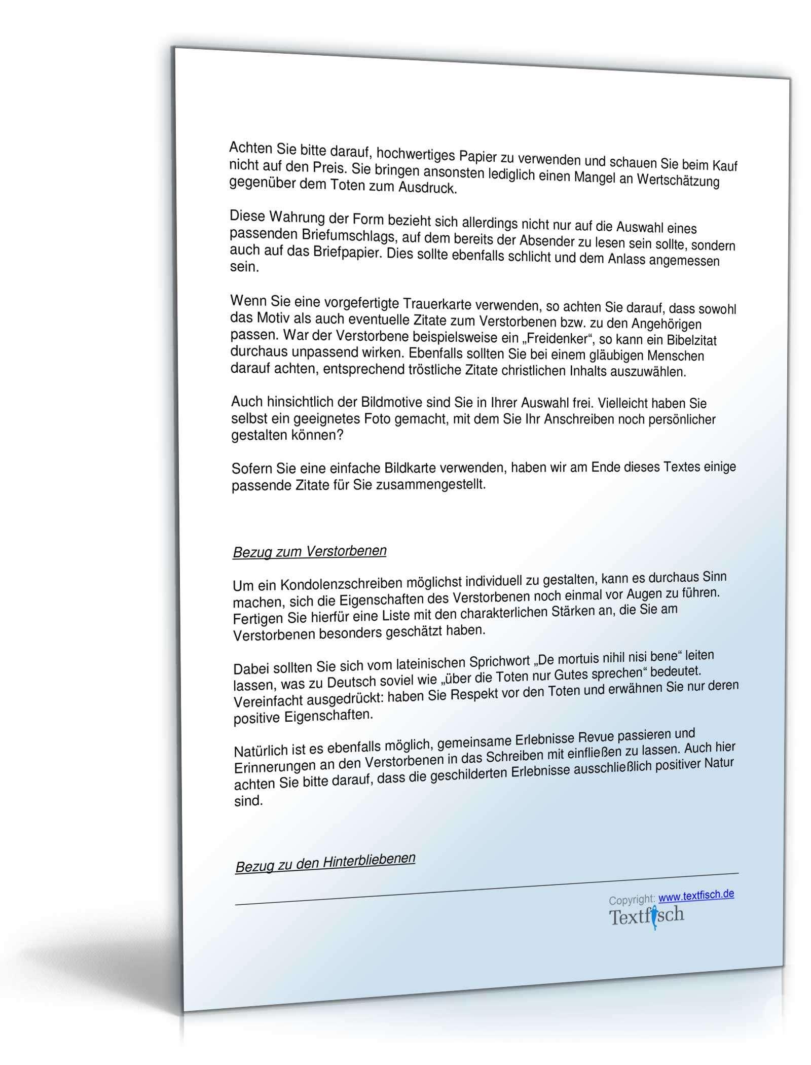 Musterbriefe Kondolenzschreiben : Kondolenzschreiben tod eines elternteils im verein