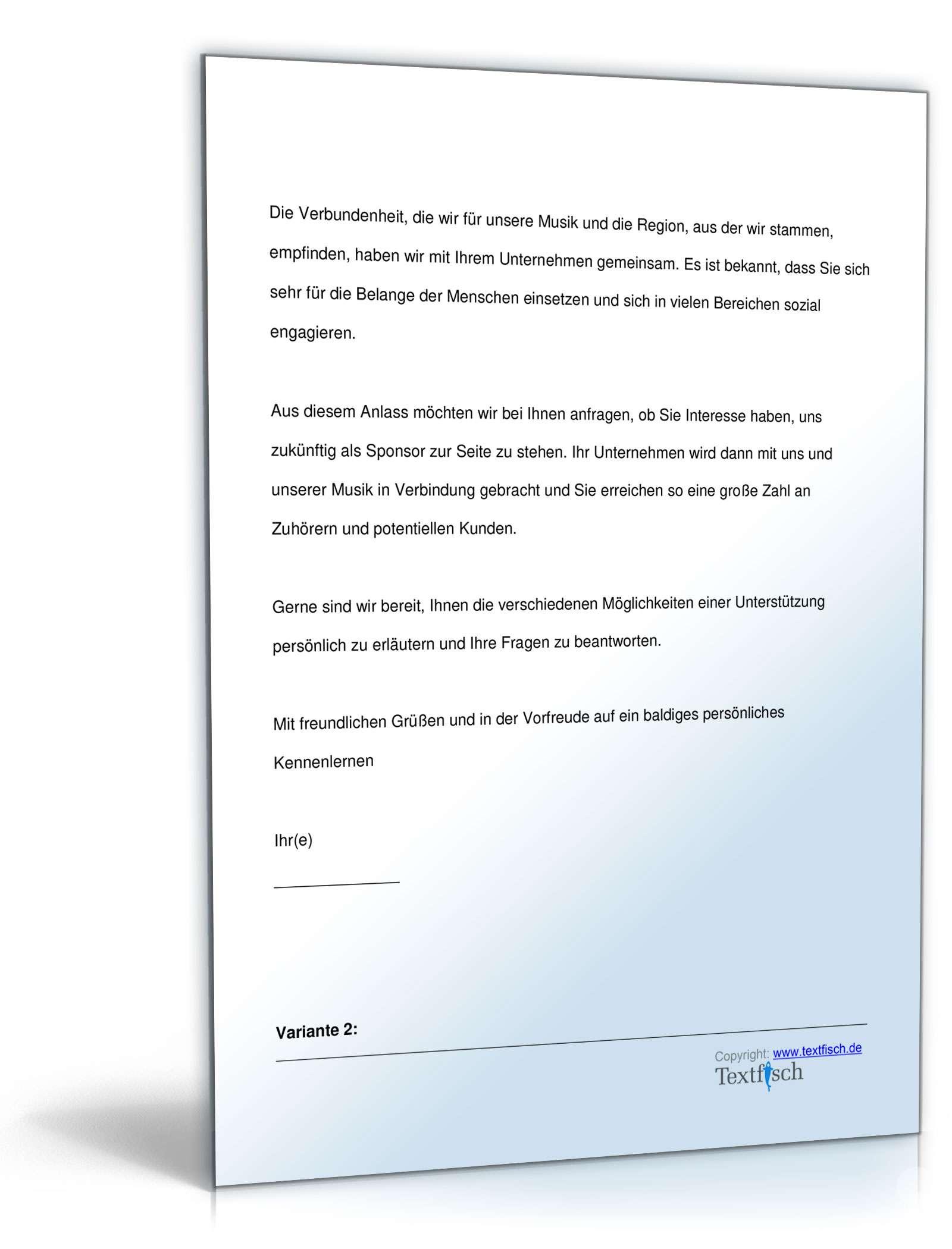 Sponsor Chormusikprojekt Vorlage Zum Download
