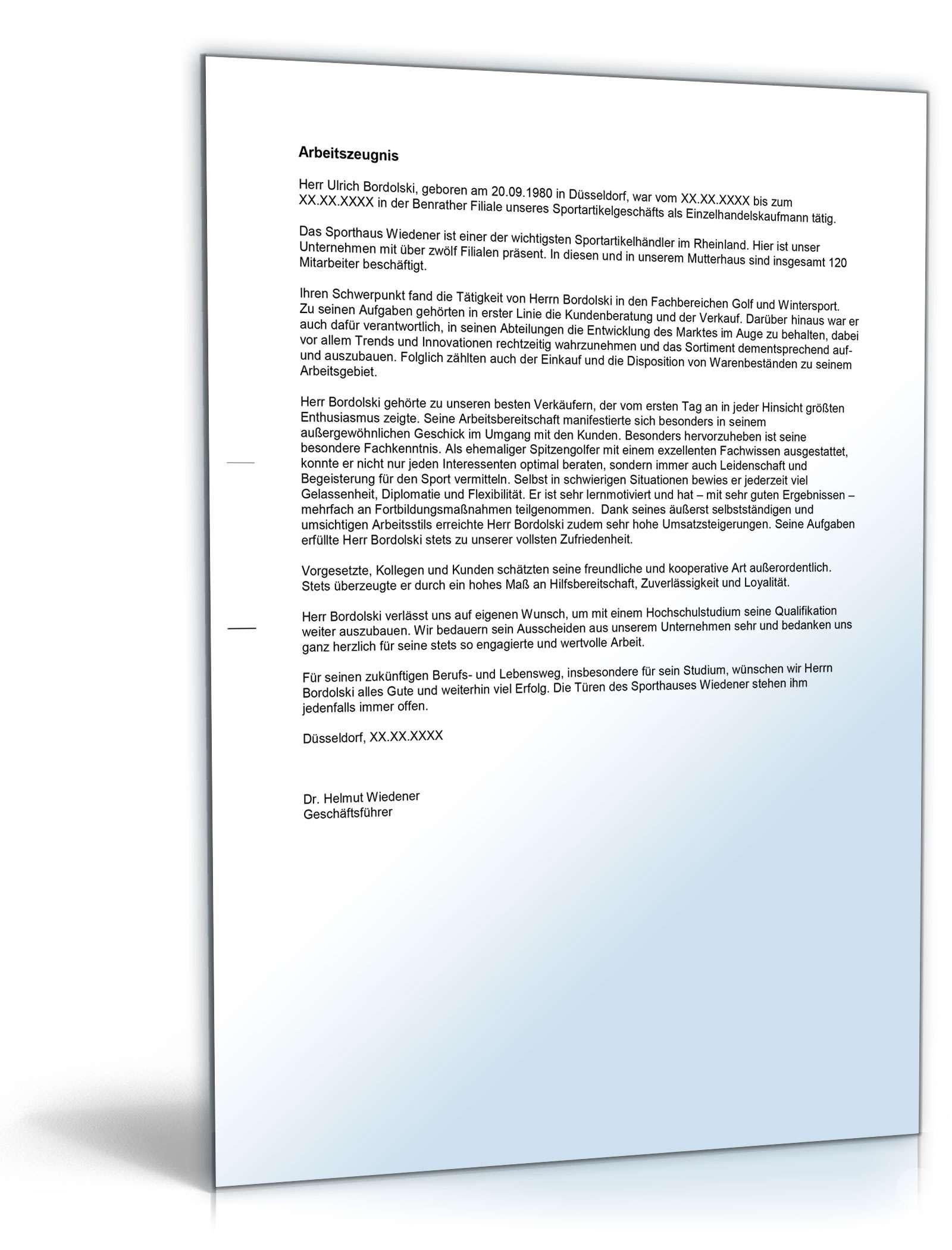 Arbeitszeugnis Einzelhandelskaufleute Muster Zum Download