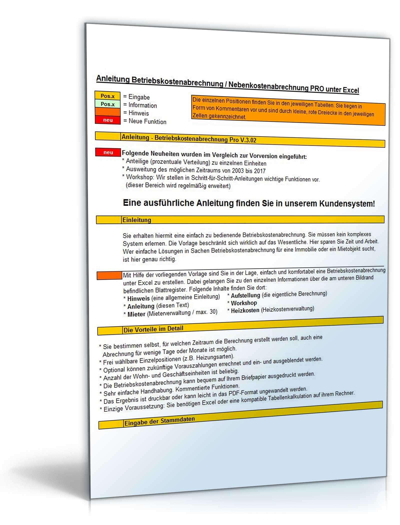 betriebskostenabrechnung pro anleitung - Nebenkostenabrechnung Muster Excel