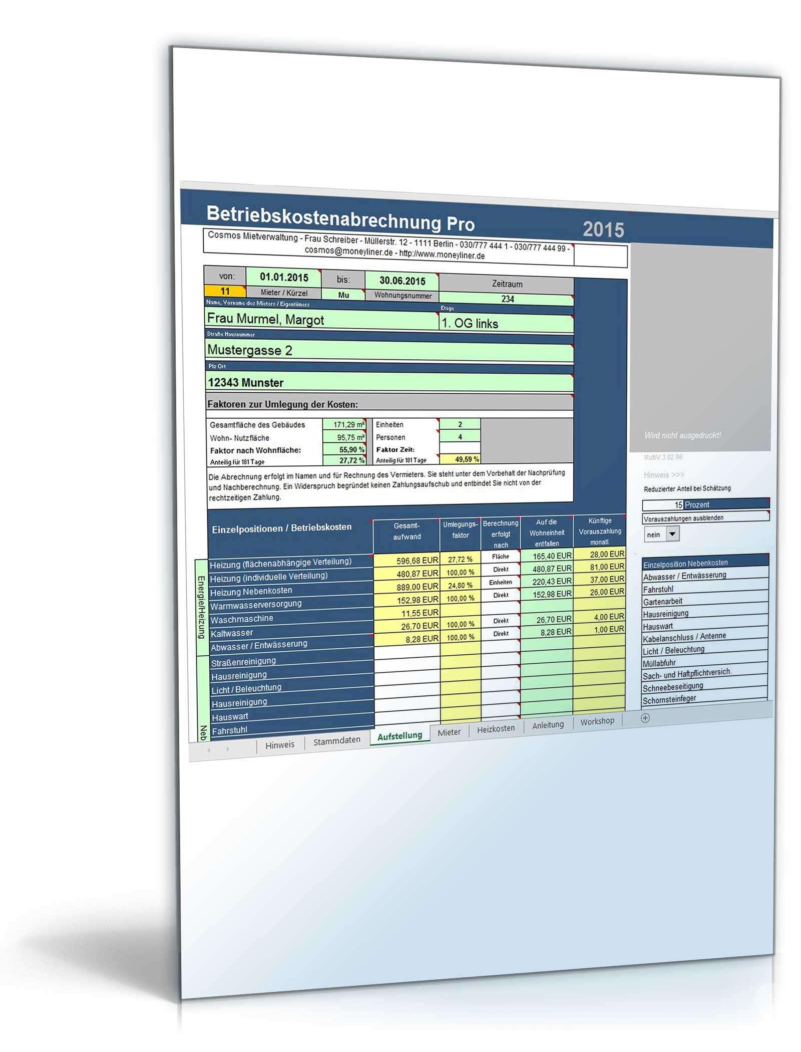 Betriebskostenabrechnung Pro Unter Excel Vorlage Zum Download