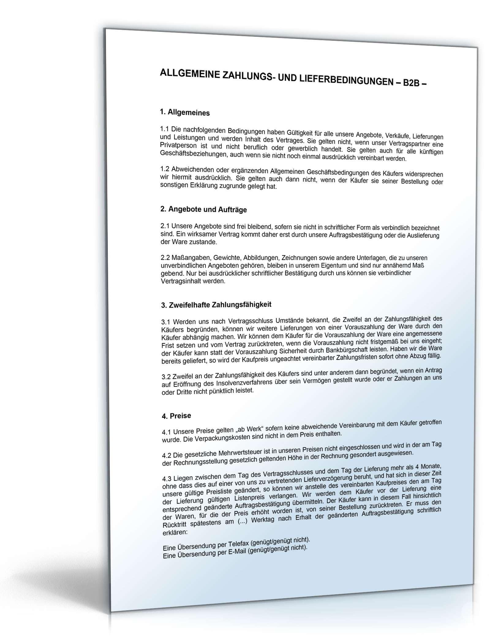 Agb Für Kaufmännischen Verkehr Muster Zum Download