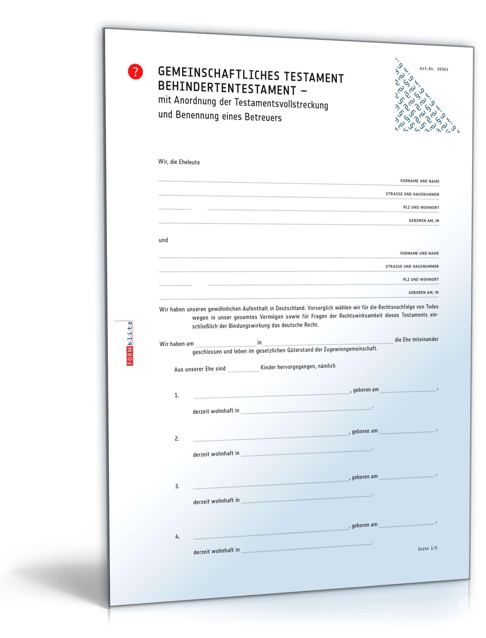 Behindertentestament Rechtssichere Vorlage Zum Download