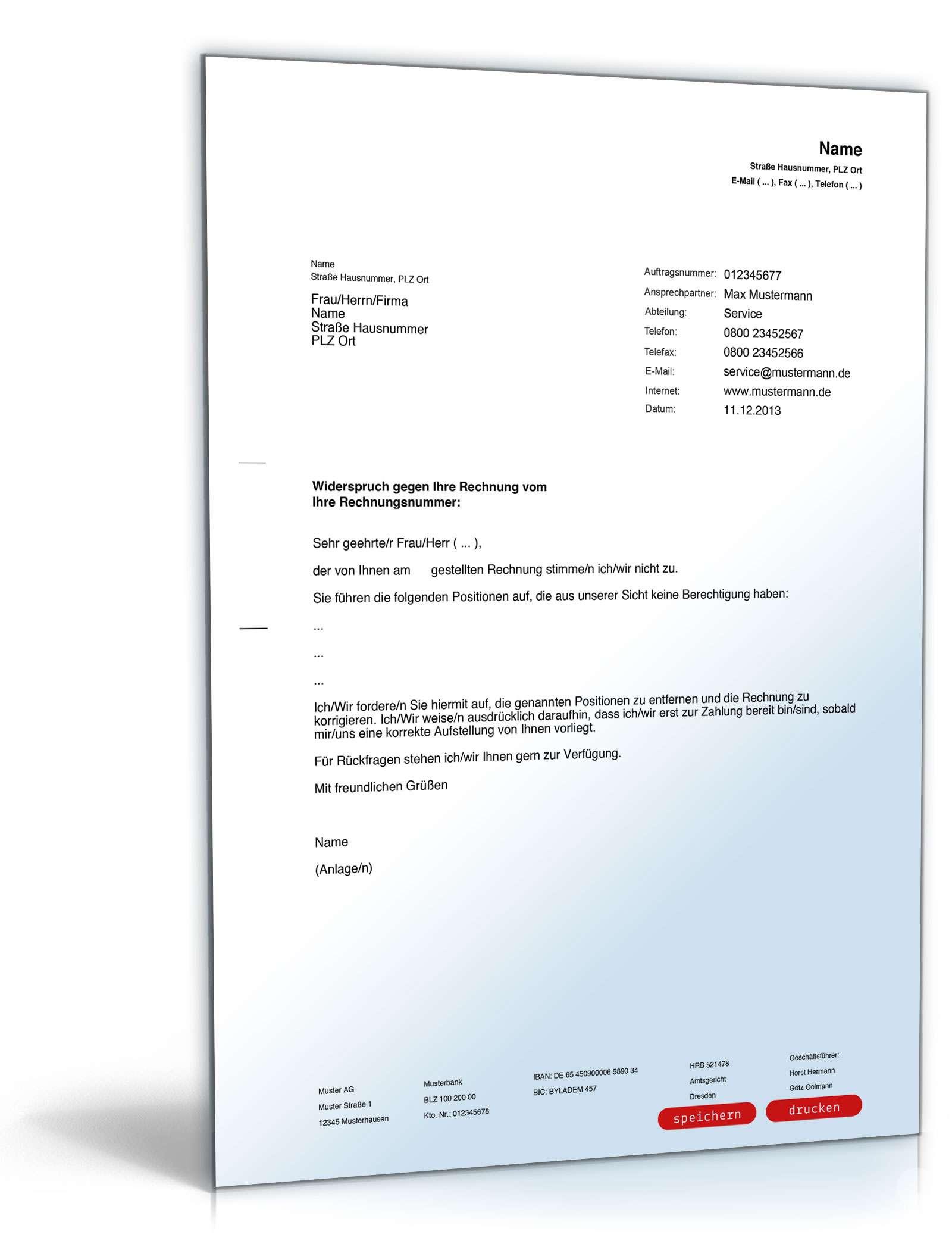 Musterbriefe Widerspruch Einlegen : Widerspruch rechnung muster zum download formblitz