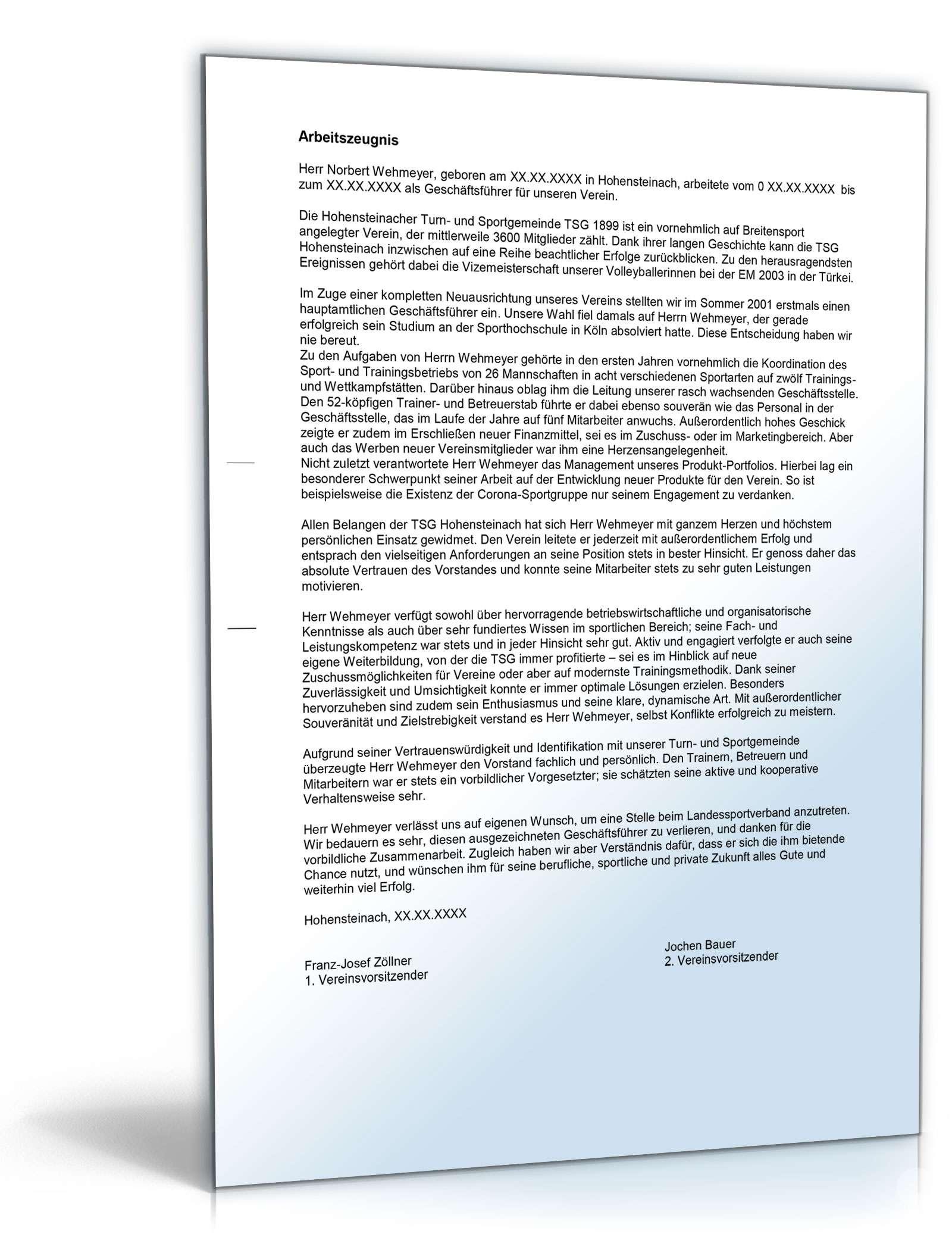 Arbeitszeugnis Geschäftsführer Verein Muster Zum Download