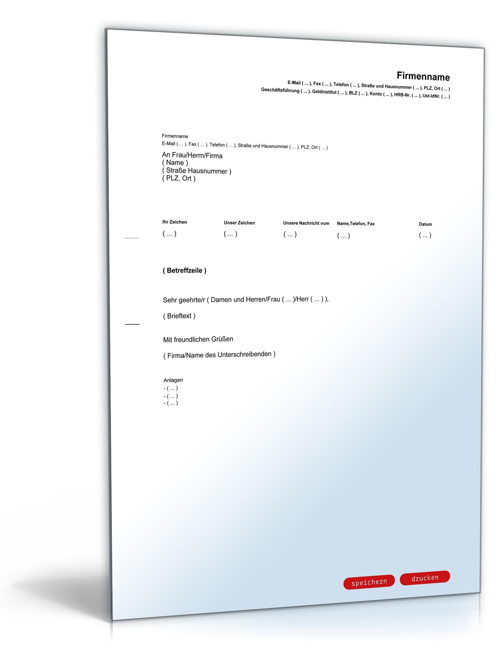 Allgemeiner Geschäftsbrief Muster Zum Download