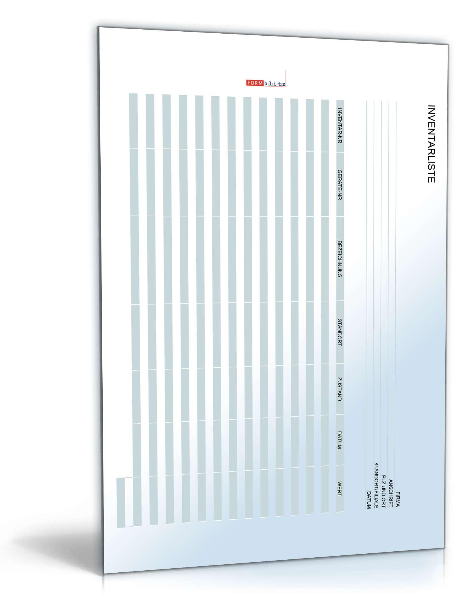 Inventarliste Büro | Vorlage als Excel-Tabelle zum Download