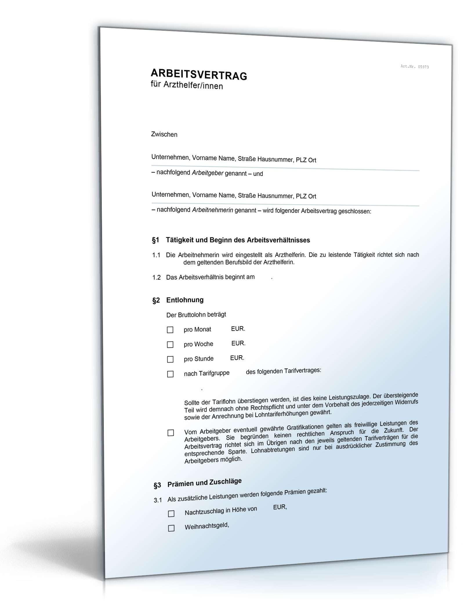 arbeitsvertrag fr medizinische fachangestellte mfa - Arbeitsvertrag Geringfgig Beschftigte Muster Kostenlos