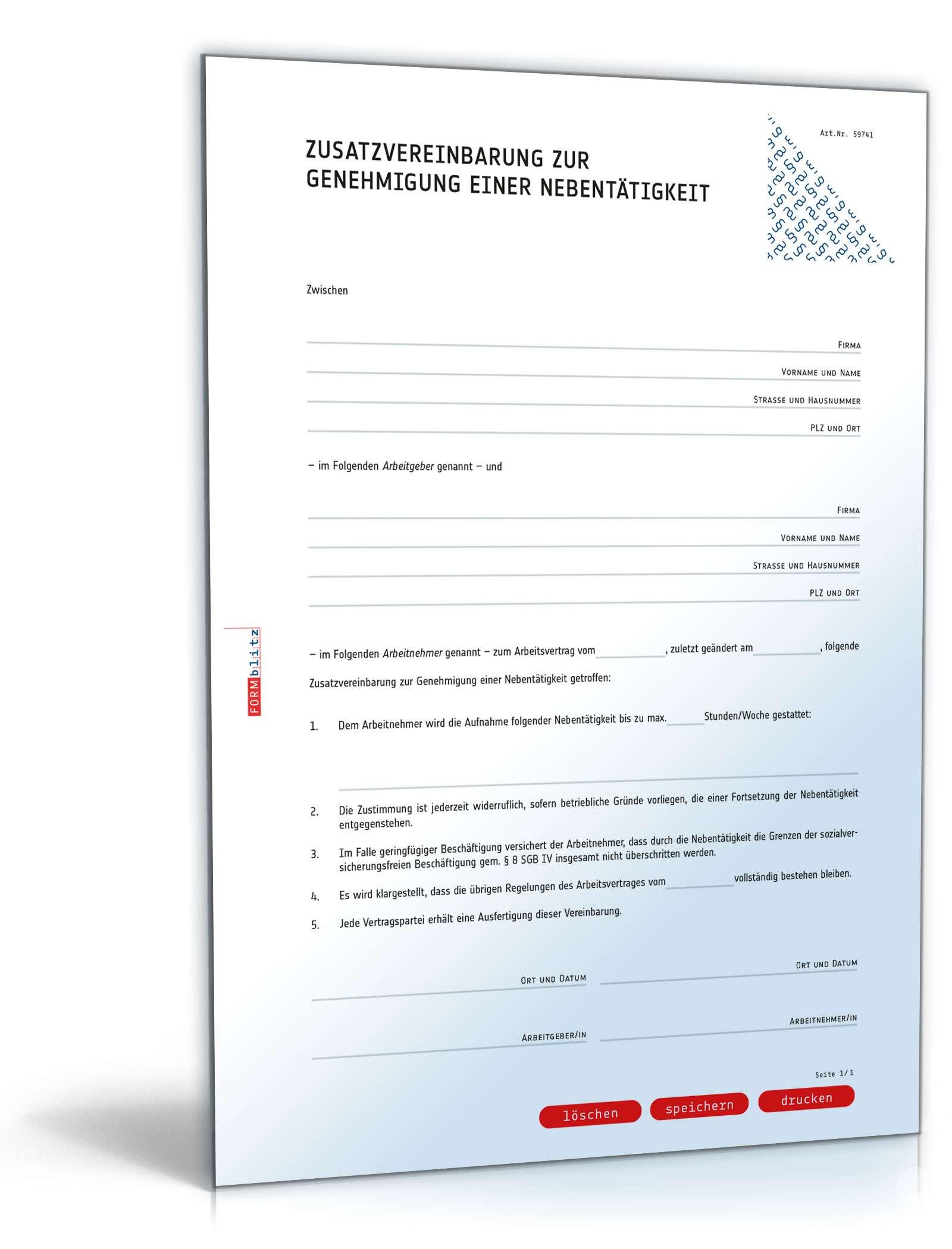 Zusatzvereinbarung Genehmigung Nebentätigkeit Muster Downloaden