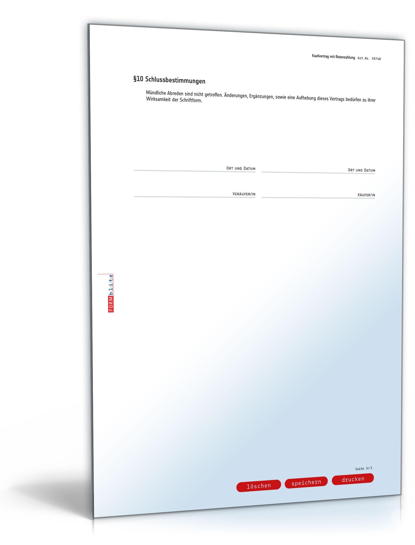 Kaufvertrag Mit Ratenzahlung Vorlage Zum Download