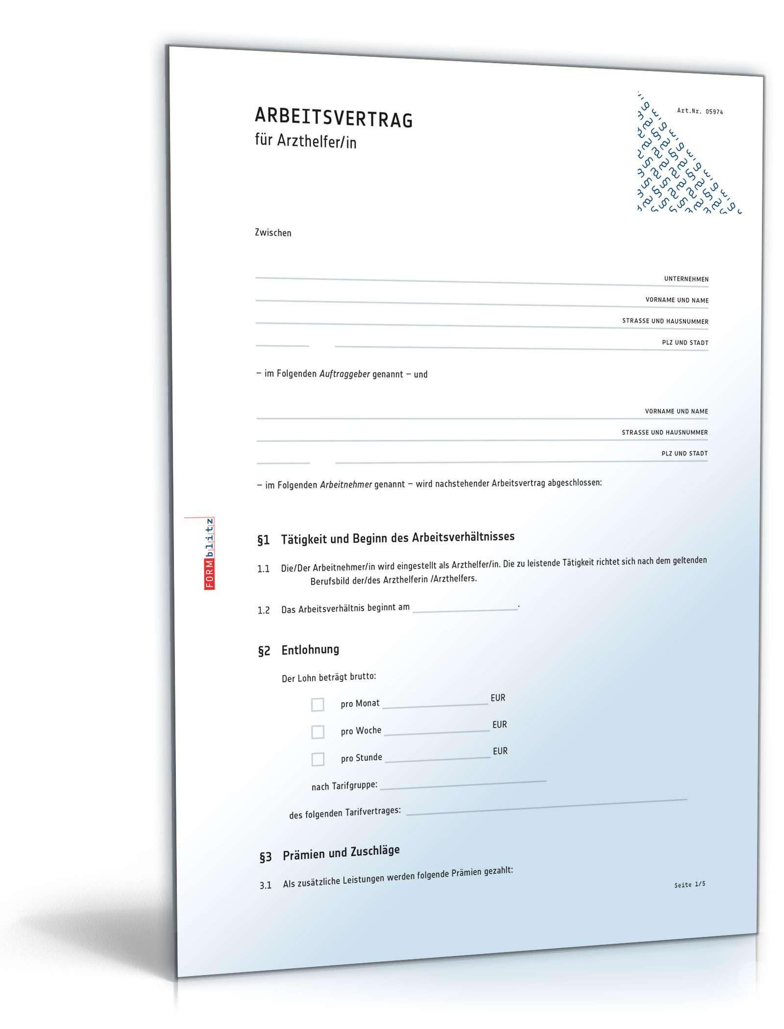 Arbeitsvertrag Arzthelferin Rechtssicheres Muster Zum Download