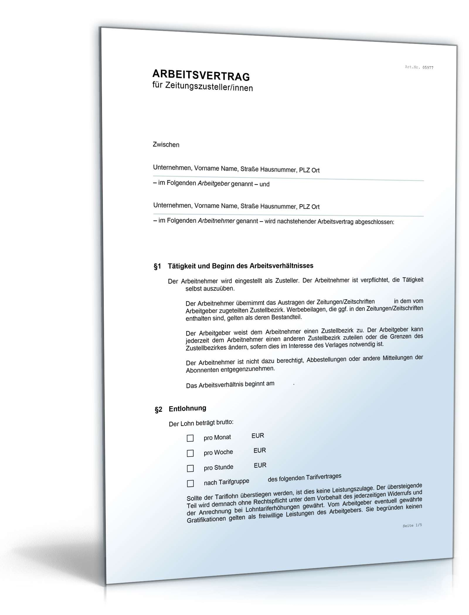 arbeitsvertrag zeitungszusteller - Anderung Arbeitsvertrag Muster