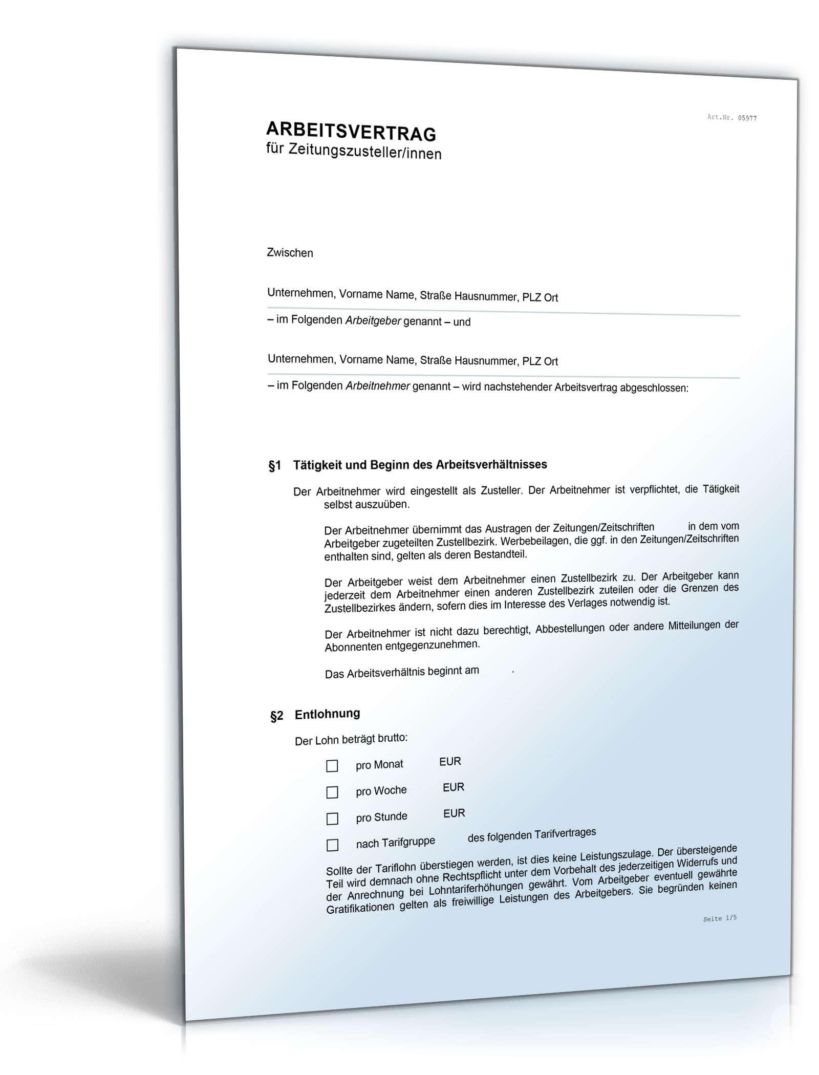 Musterbriefe Arbeitgeber : Arbeitsvertrag zeitungszusteller muster zum download