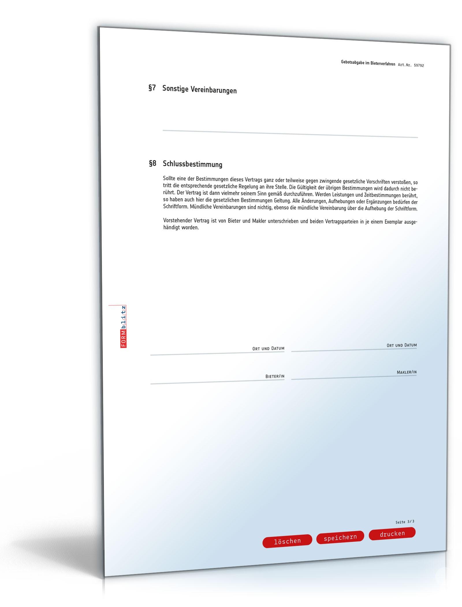 Bieterverfahren Gebotsabgabe Immobilie | Muster zum Download