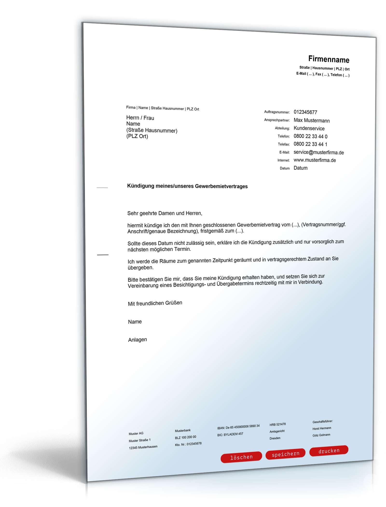 kündigung mietvertrag vorlage pdf