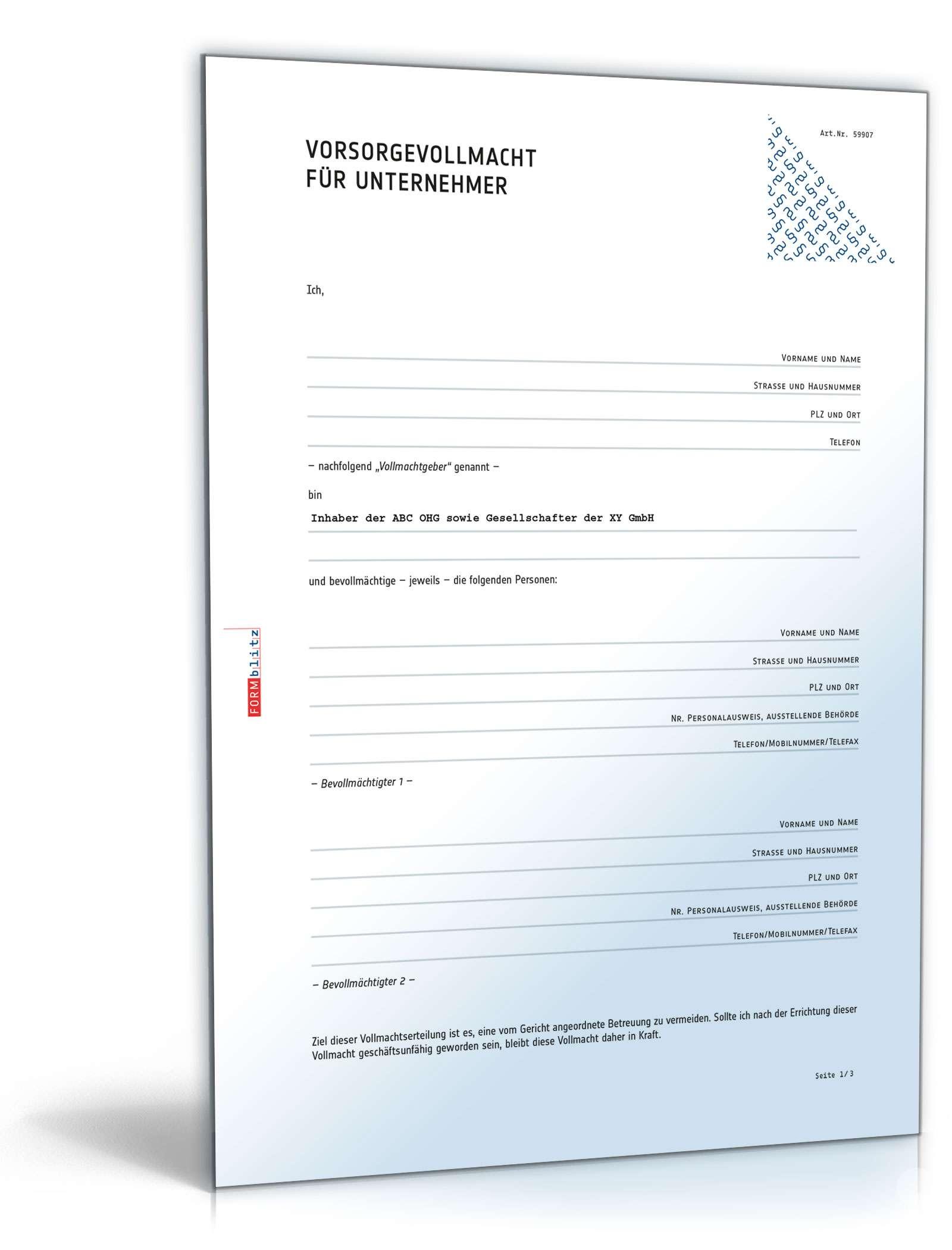Vorsorgevollmacht Unternehmer Vorlage Zum Download