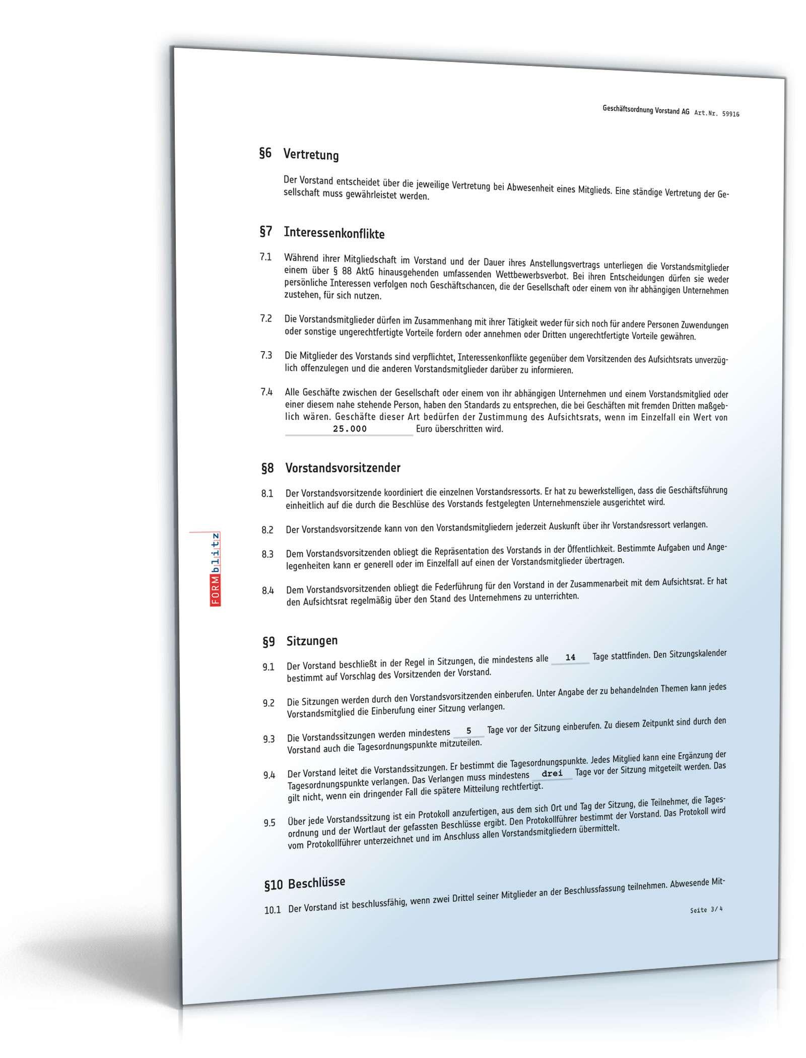 Geschäftsordnung Vorstand AG   Vorlage zum Download