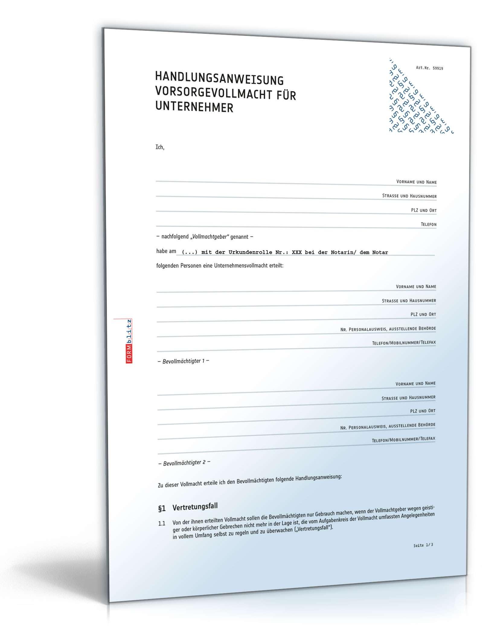 Handlungsanweisung Vorsorgevollmacht Unternehmer | Vorlage zum Download