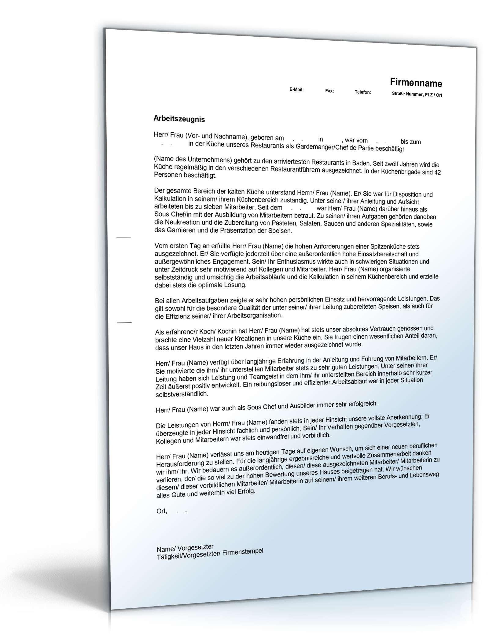 Arbeitszeugnis Chefkoch Rechtssichere Muster Zum Download