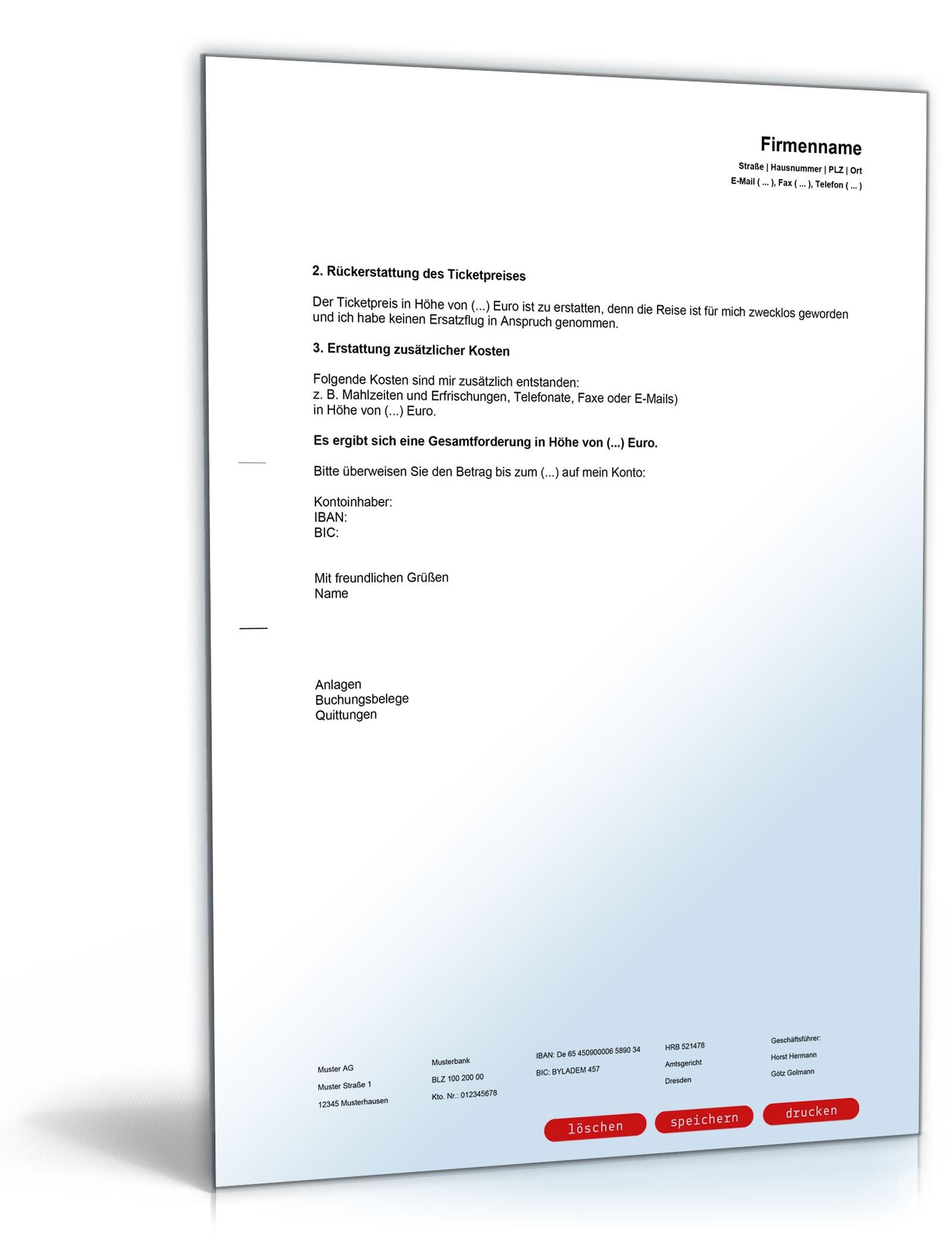 Ausgleichsanspruch Nach Fluggastverordnung Vorlage Zum Download