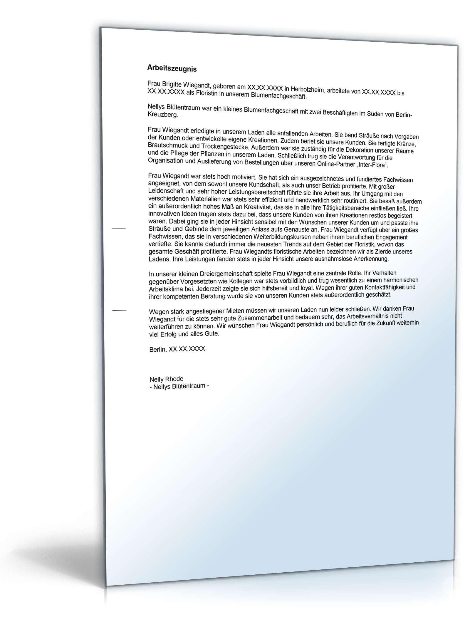 Arbeitszeugnis Floristin Rechtssichere Muster Zum Download