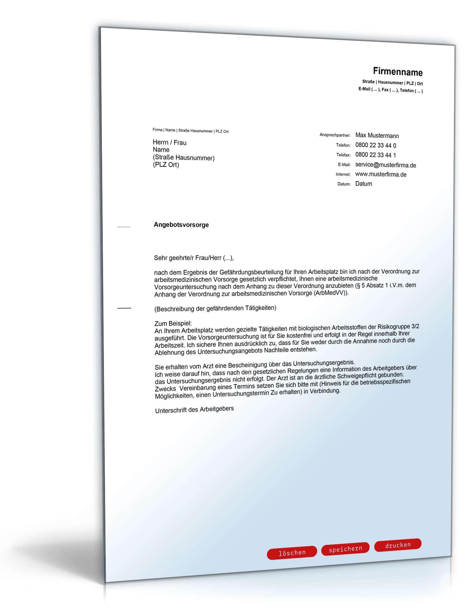 Anschreiben Arbeitsmedizinische Angebotsvorsorge Vorlage Zum Download