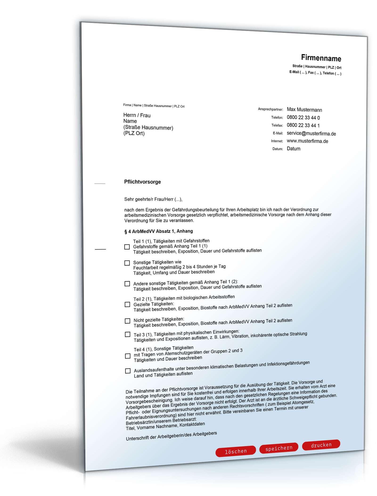 Anschreiben Arbeitsmedizinische Pflichtvorsorge Vorlage Zum Download