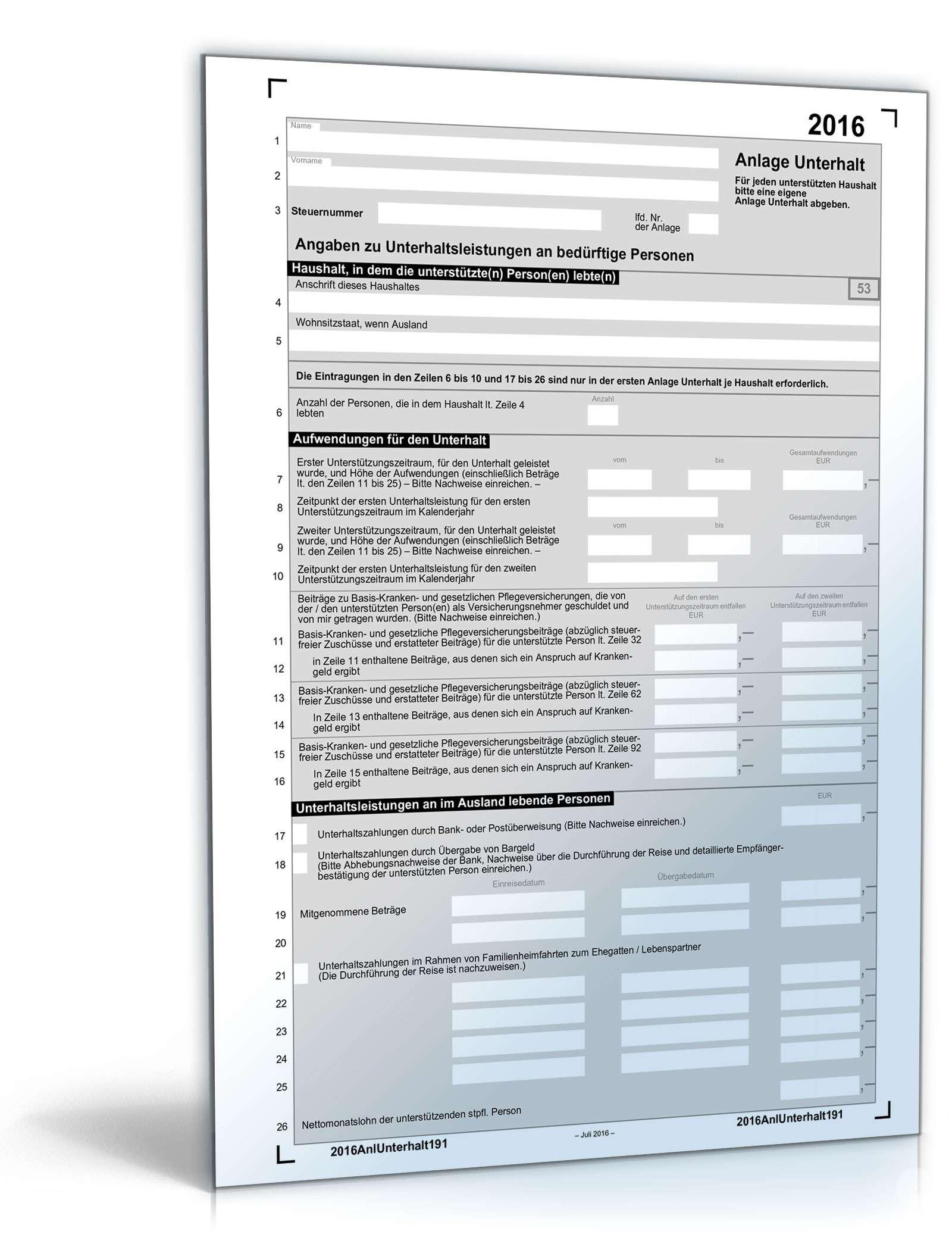 Anlage Unterhalt 2016 Dokument zum Download