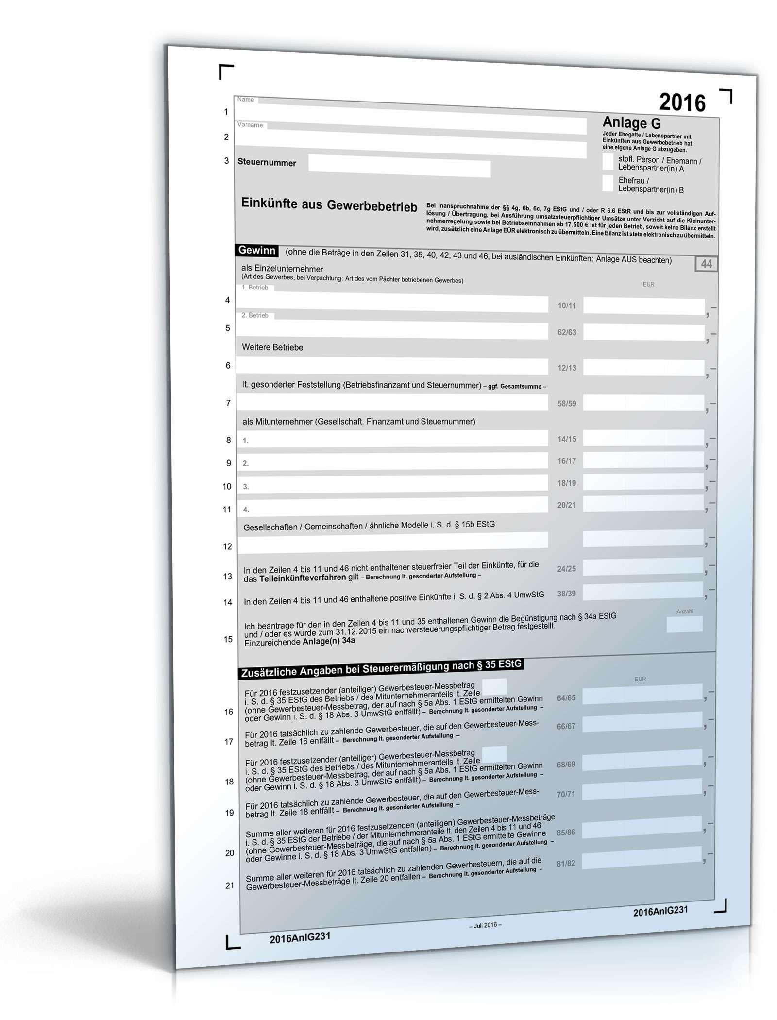 Anlage G 2016 | Steuerformular zum Download