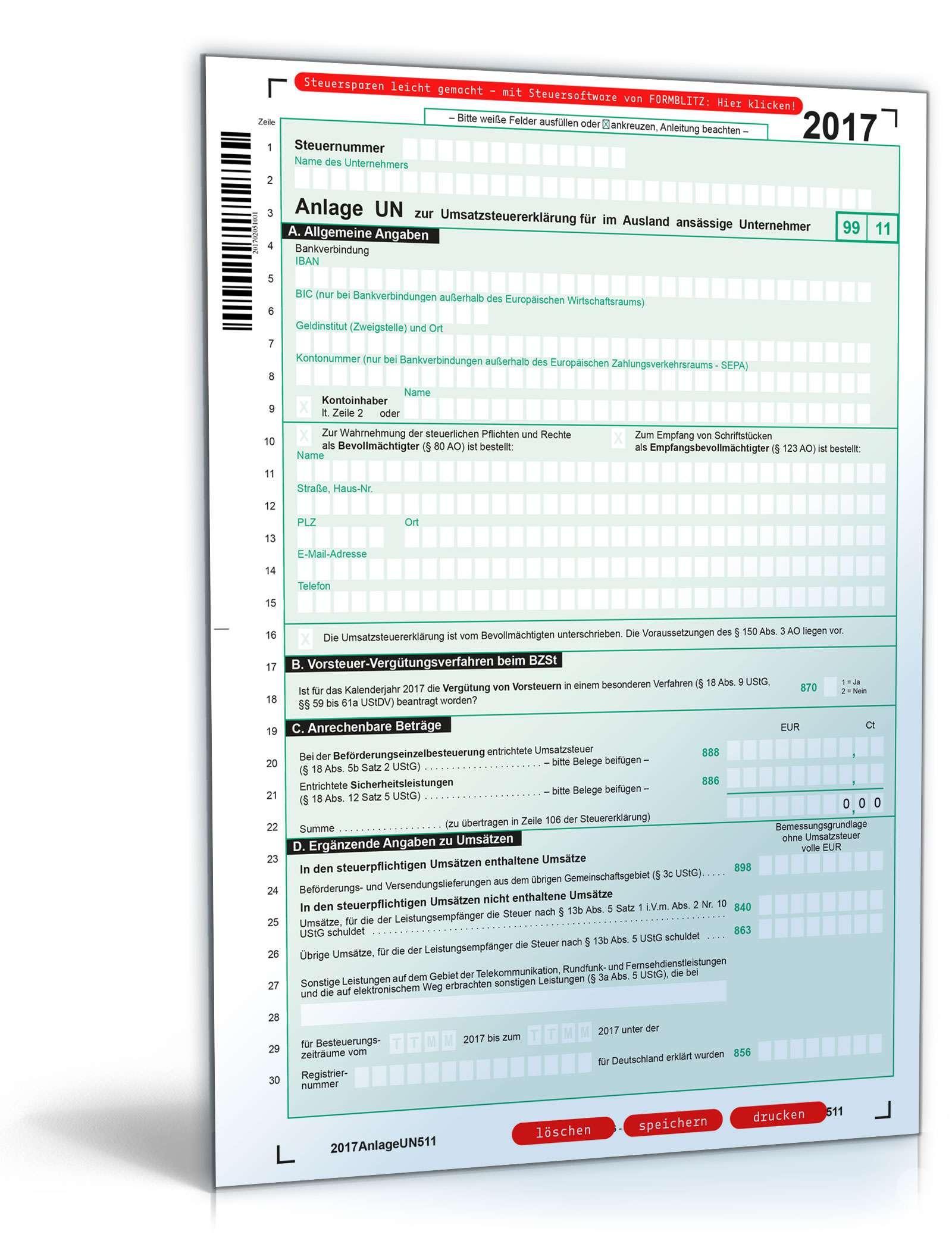 Anlage UN zur Umsatzsteuererklärung 2017 Dokument zum Download